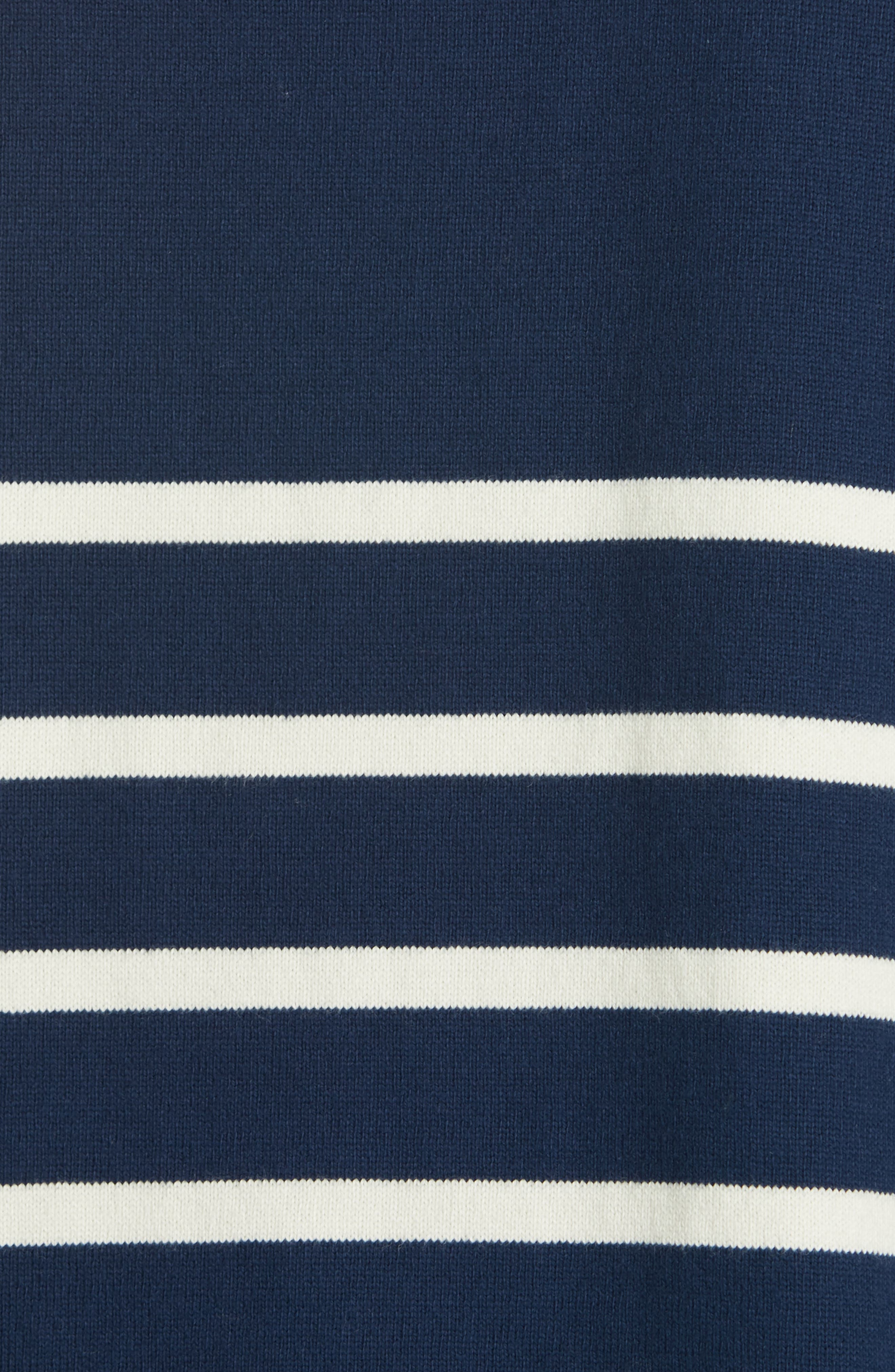 EILEEN FISHER, Stripe Organic Cotton Sweater, Alternate thumbnail 5, color, DENIM