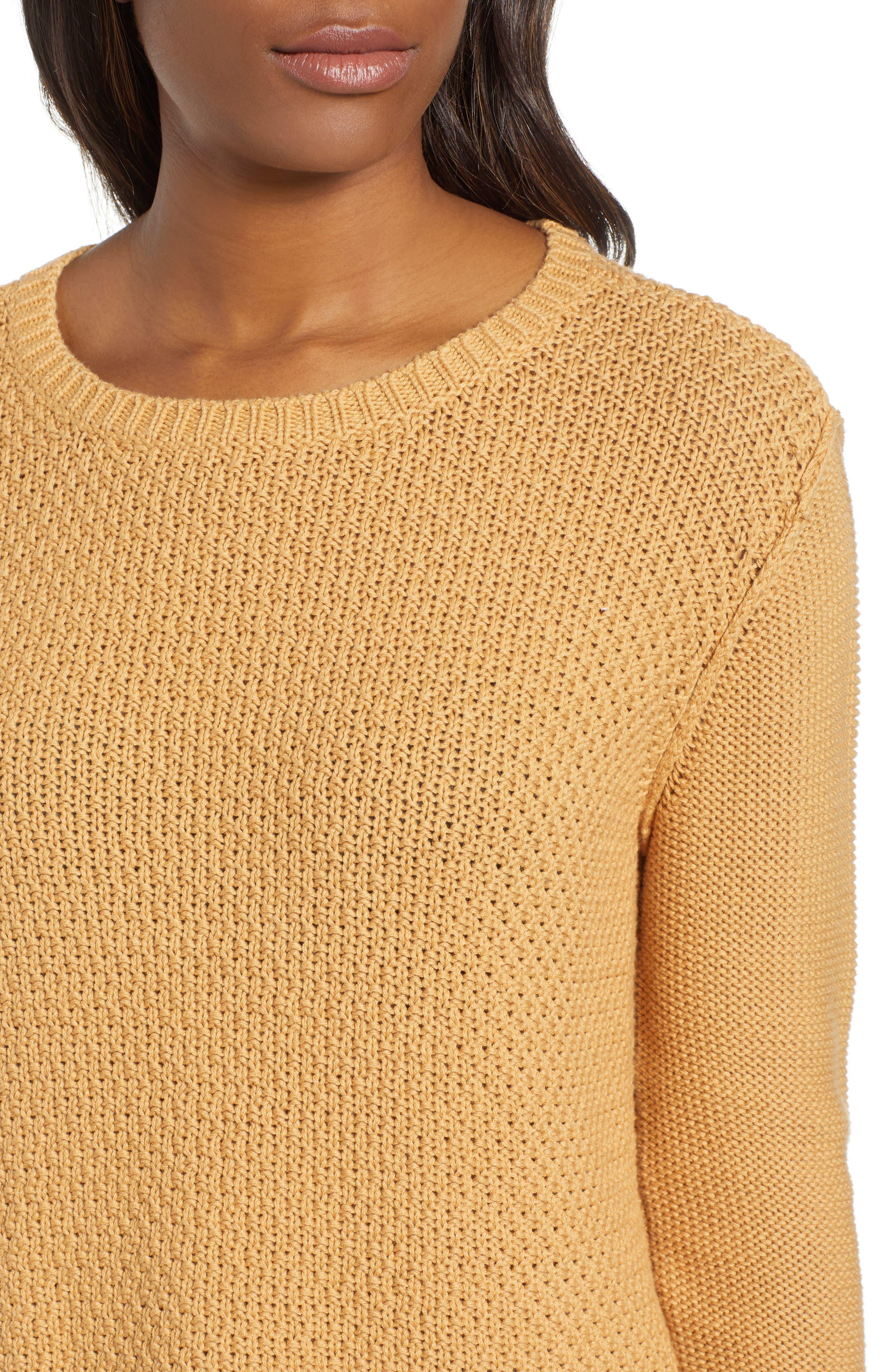CASLON<SUP>®</SUP>, Mixed Stitch Sweater, Alternate thumbnail 4, color, TAN CINNAMON