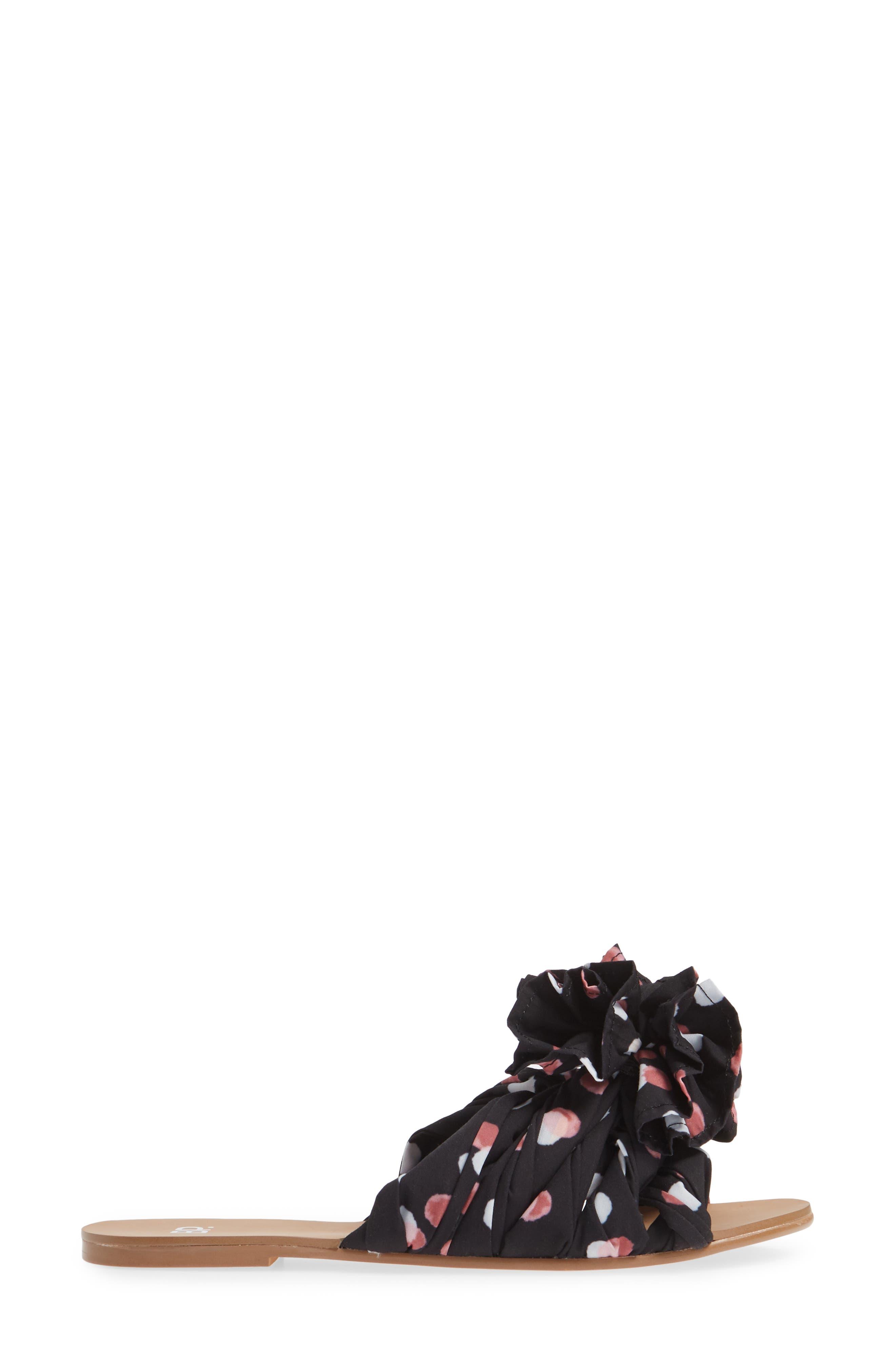 BP., Ruby Slide Sandal, Alternate thumbnail 3, color, BLACK POLKA DOT FABRIC
