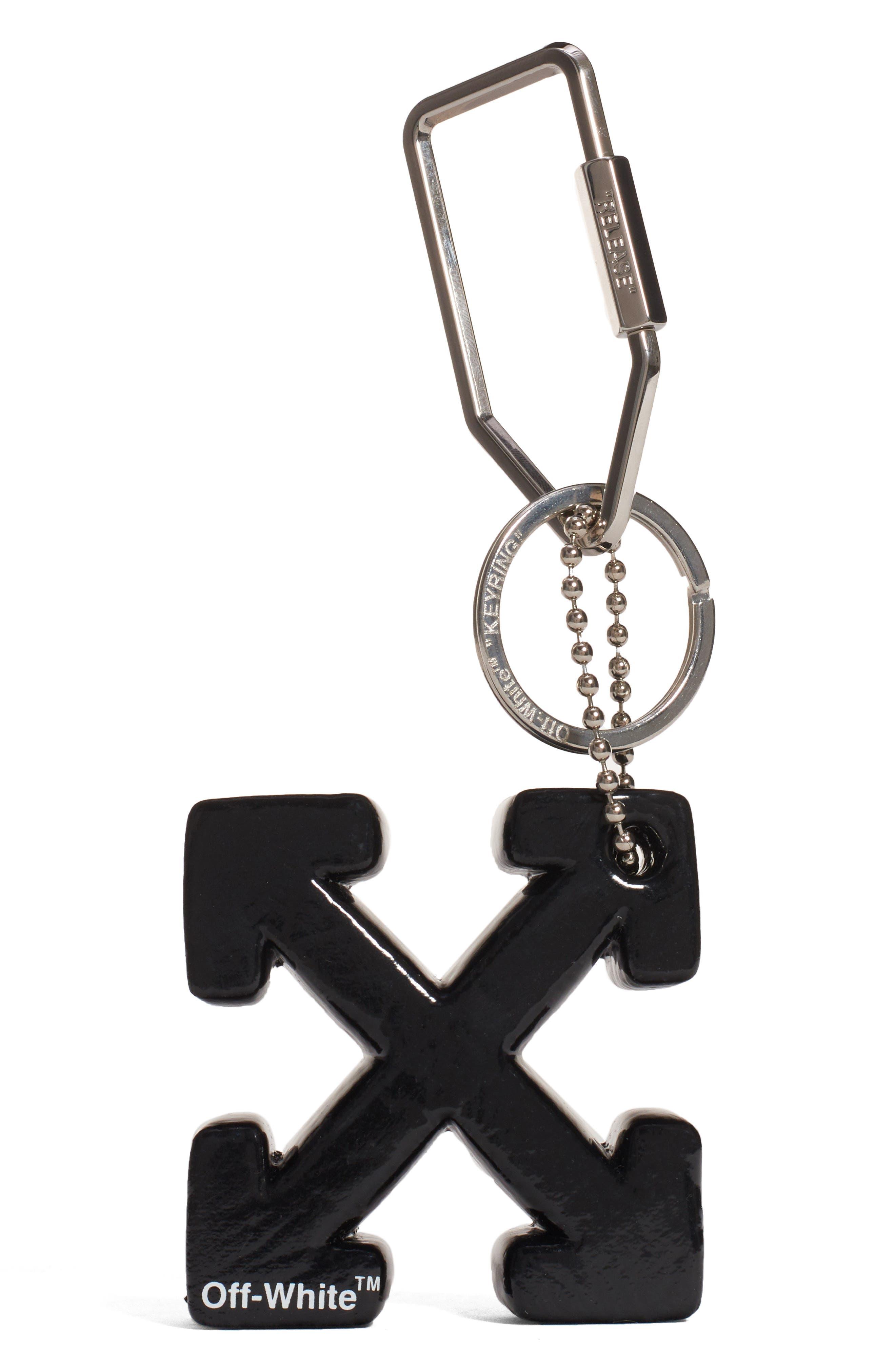 OFF-WHITE, Arrow Bag Charm, Main thumbnail 1, color, BLACK
