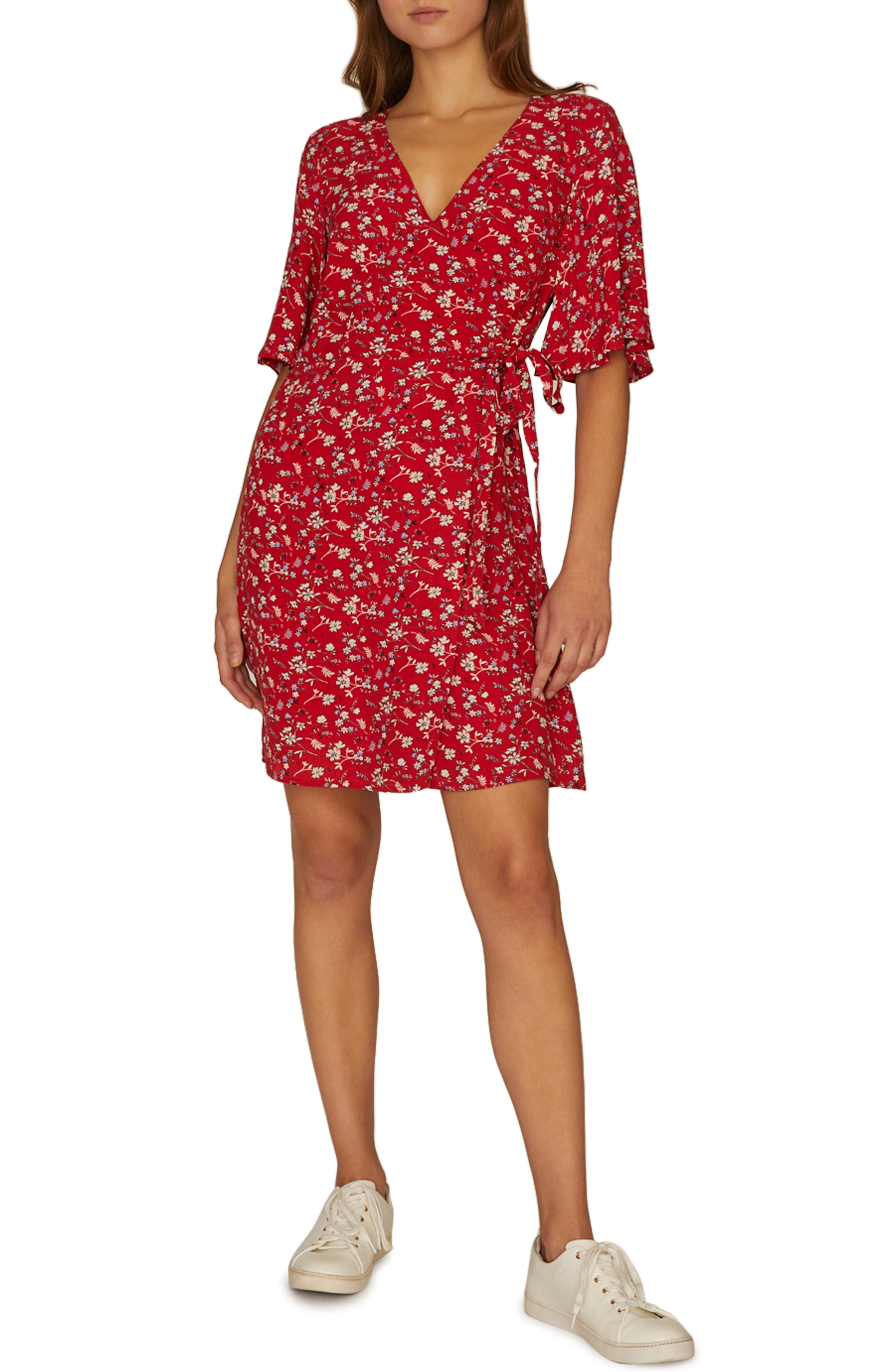 SANCTUARY Girl on Fire Faux Wrap Dress, Main, color, SIMPLY RED