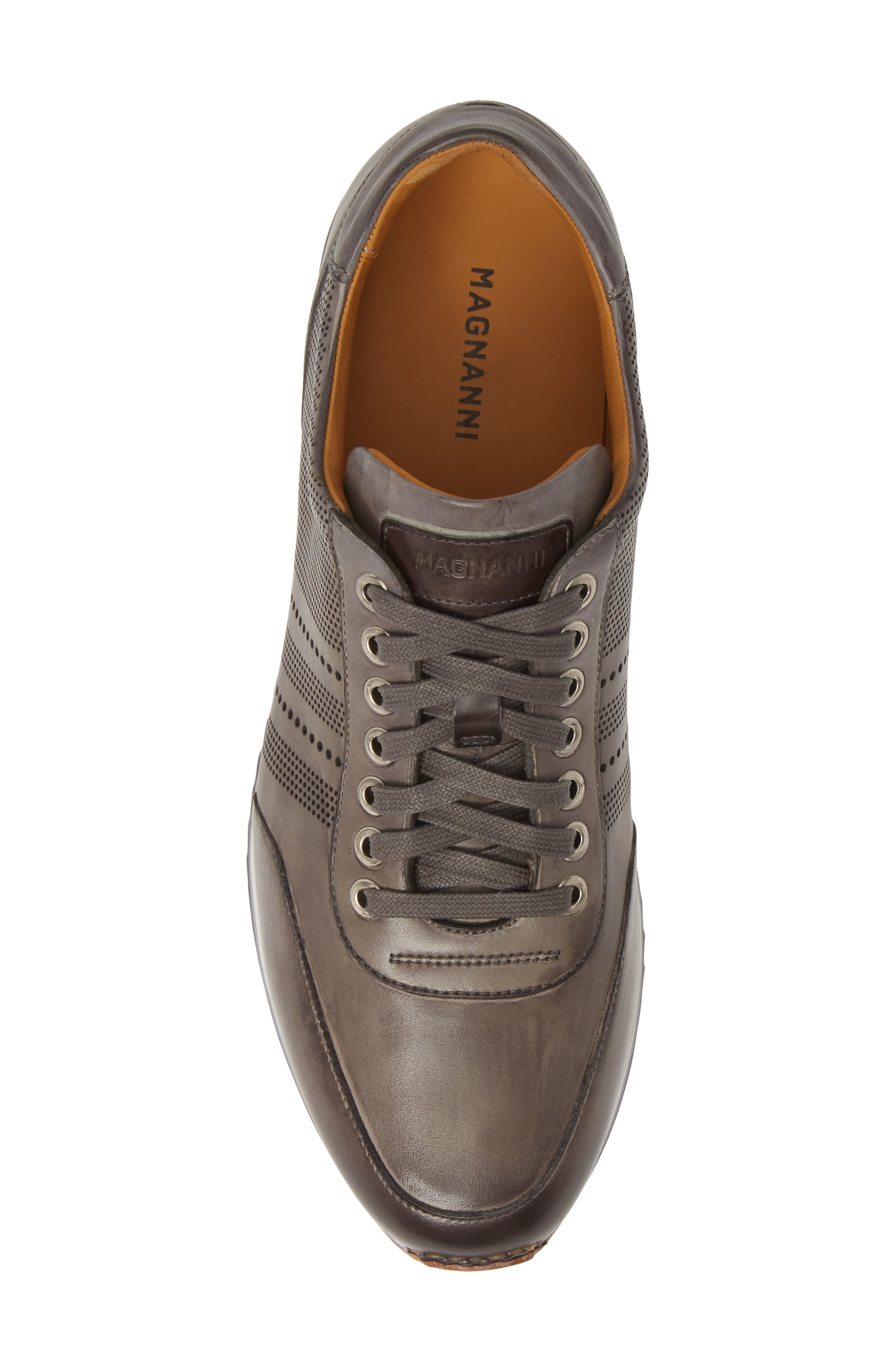 MAGNANNI, Merino Sneaker, Alternate thumbnail 5, color, GREY LEATHER