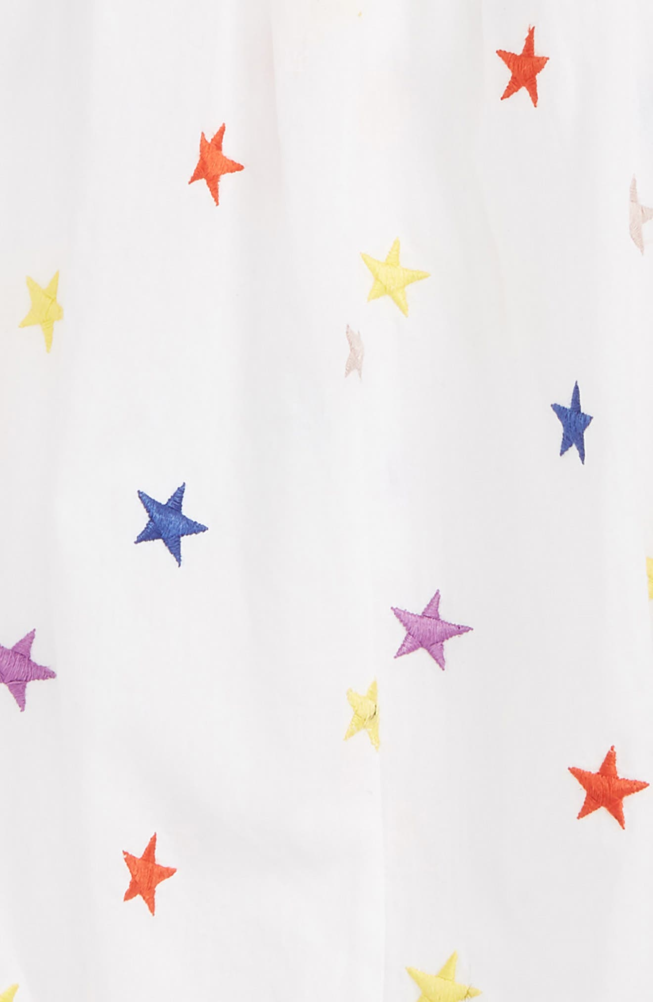 STELLA MCCARTNEY KIDS, Stella McCartney Embroidered Stars Romper, Alternate thumbnail 2, color, 9094 WHITE