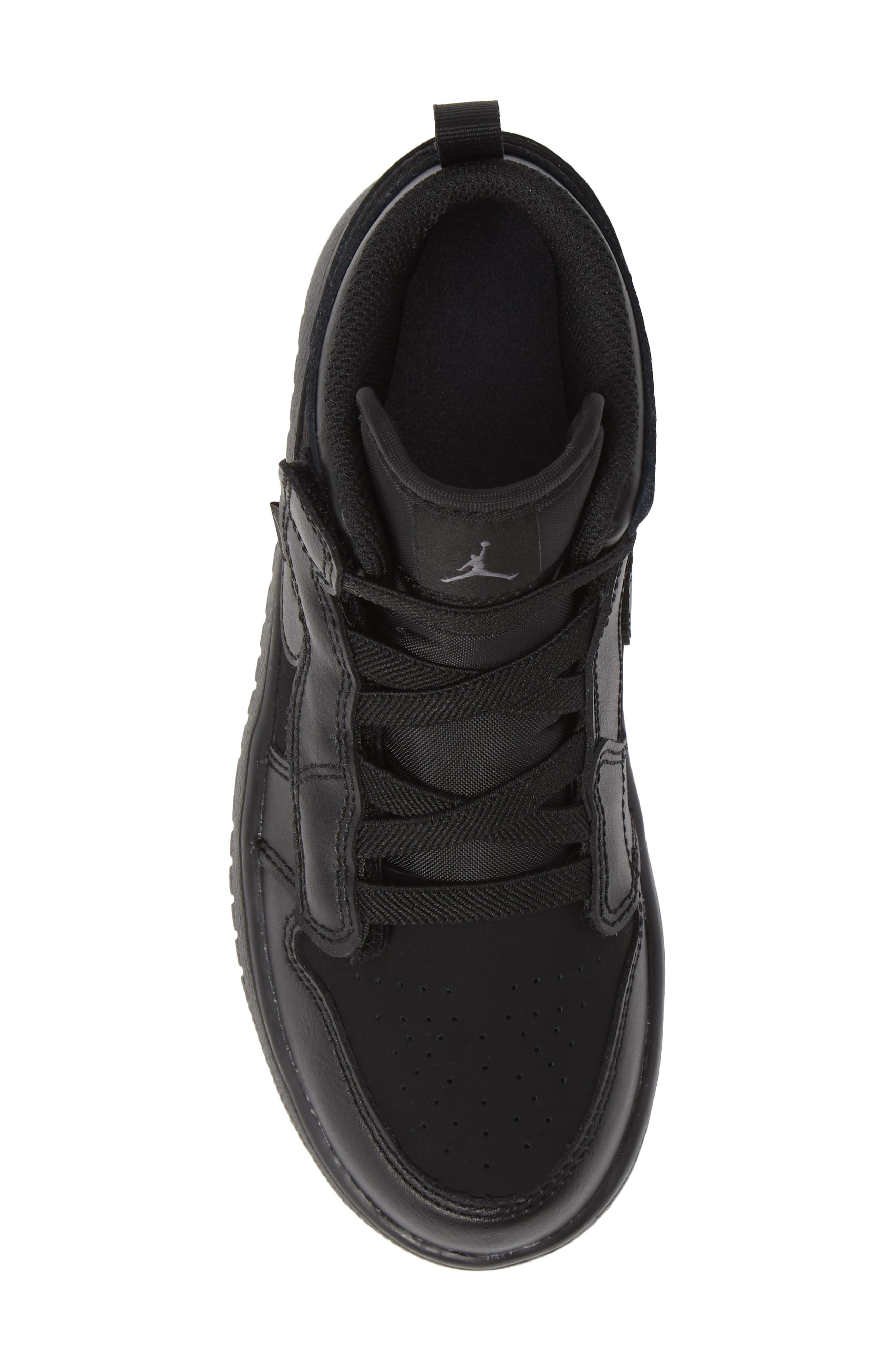 JORDAN, 1 Mid Basketball Shoe, Alternate thumbnail 5, color, BLACK/ DARK GREY