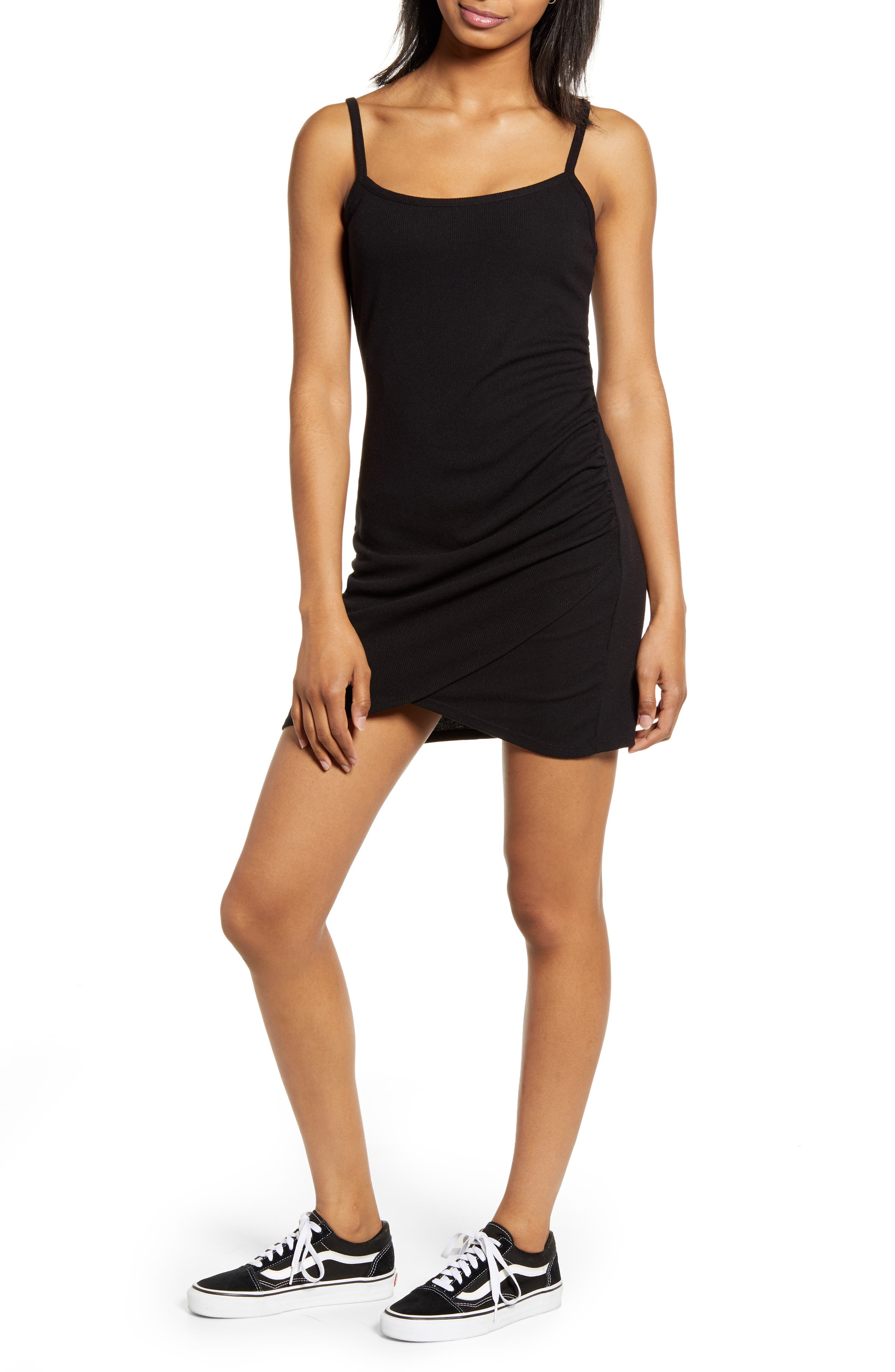 Love, Fire Side Ruched Camisole Dress, Black