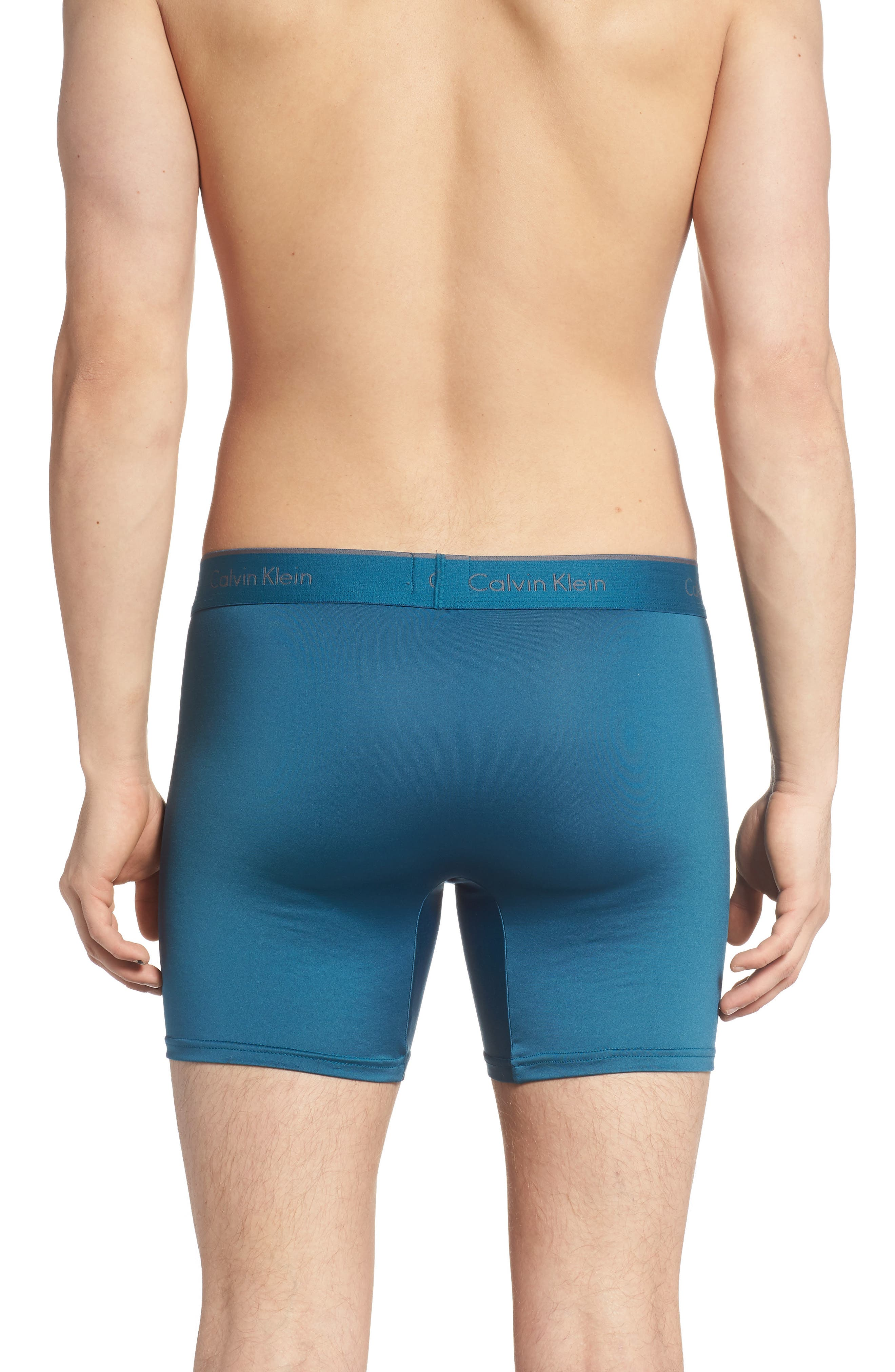 CALVIN KLEIN, 3-Pack Micro Stretch Boxer Briefs, Alternate thumbnail 3, color, IRON GATE/ BLUE/ TOURNEY