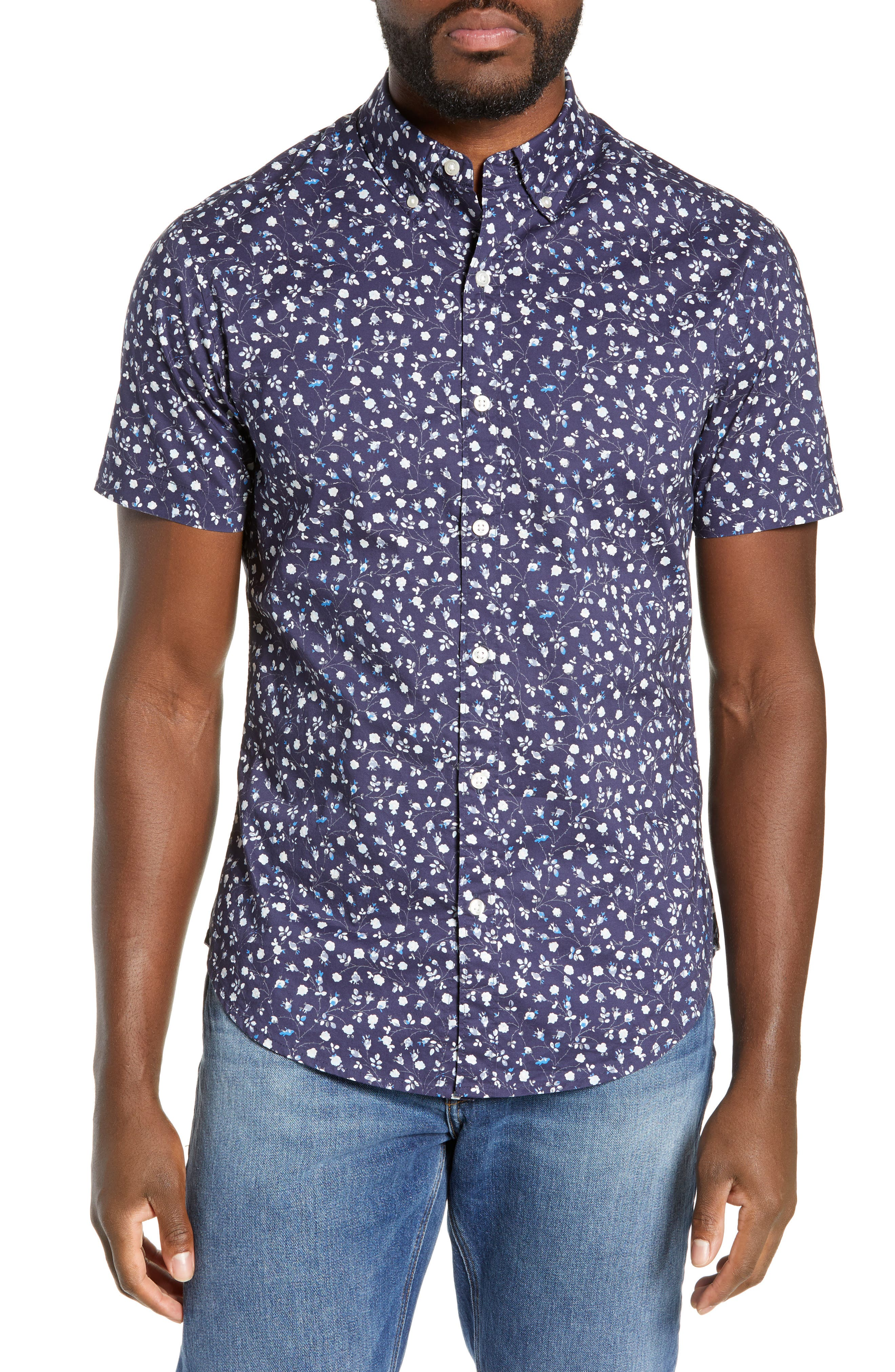 BONOBOS, Riviera Slim Fit Floral Print Sport Shirt, Main thumbnail 1, color, BLUE FLORAL