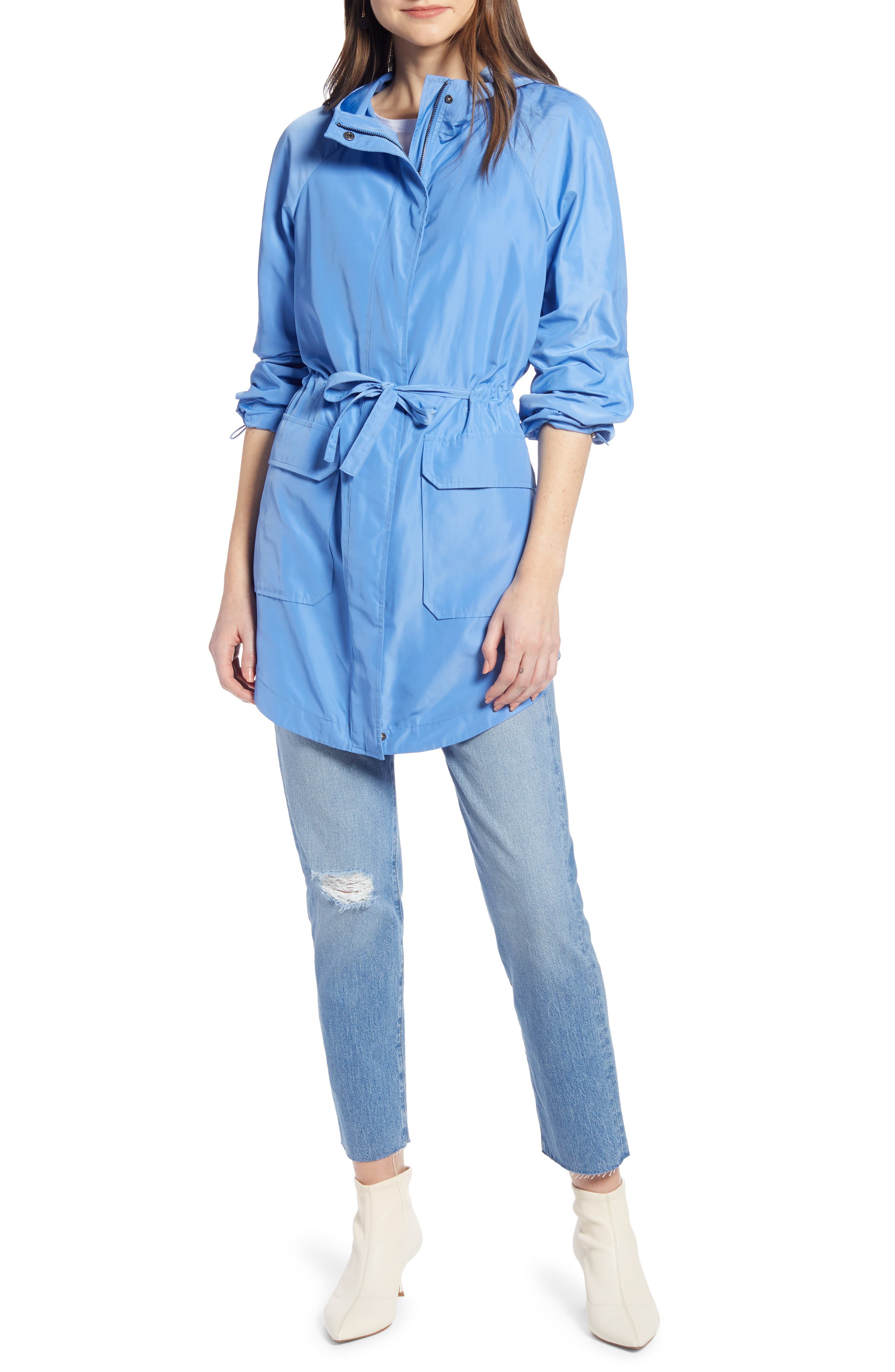 SOMETHING NAVY Belted Parka, Main, color, PERI