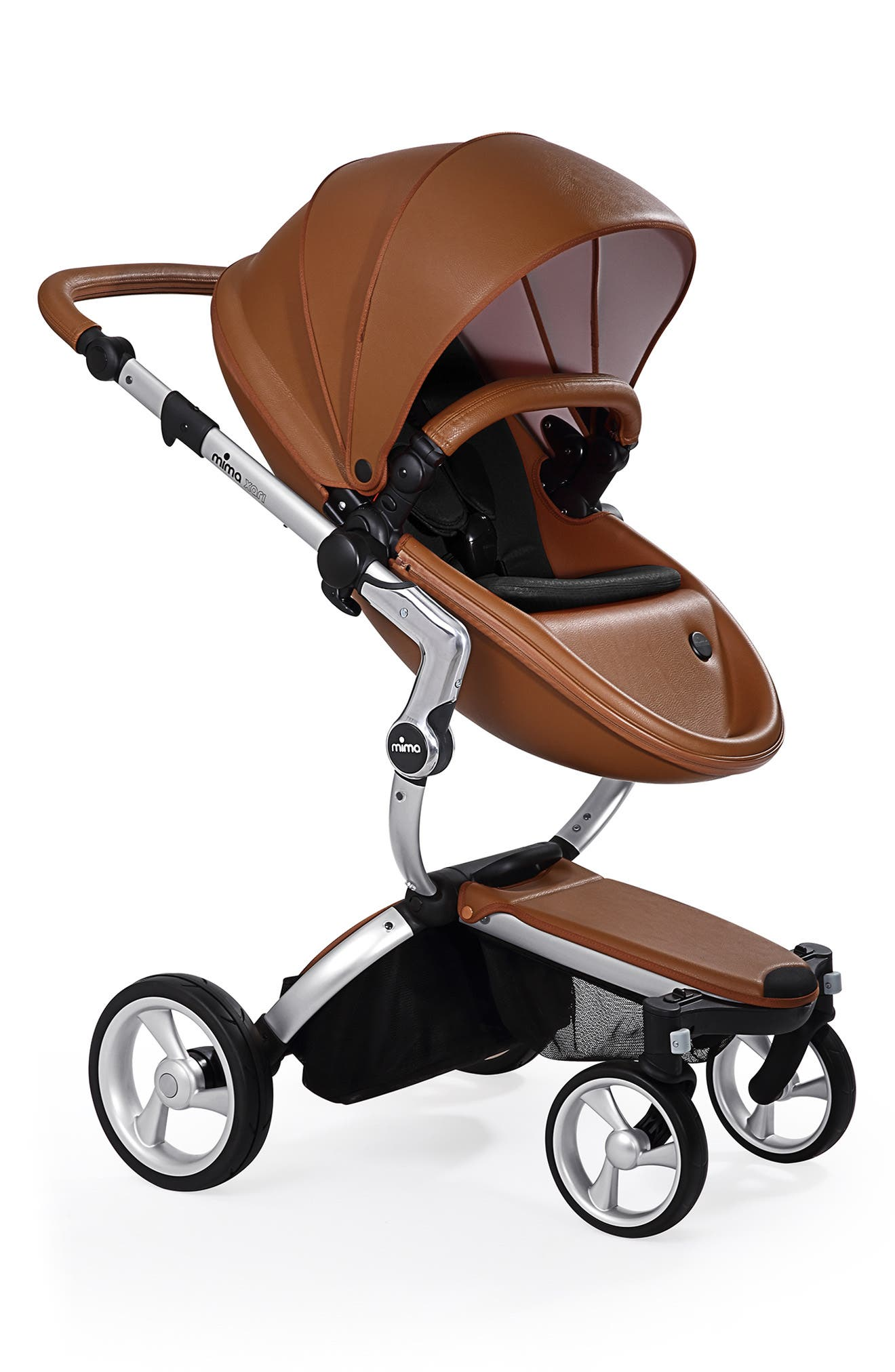 MIMA, Xari Aluminum Chassis Stroller with Reversible Reclining Seat & Carrycot, Main thumbnail 1, color, ALUM/ CAMEL/ BLACK