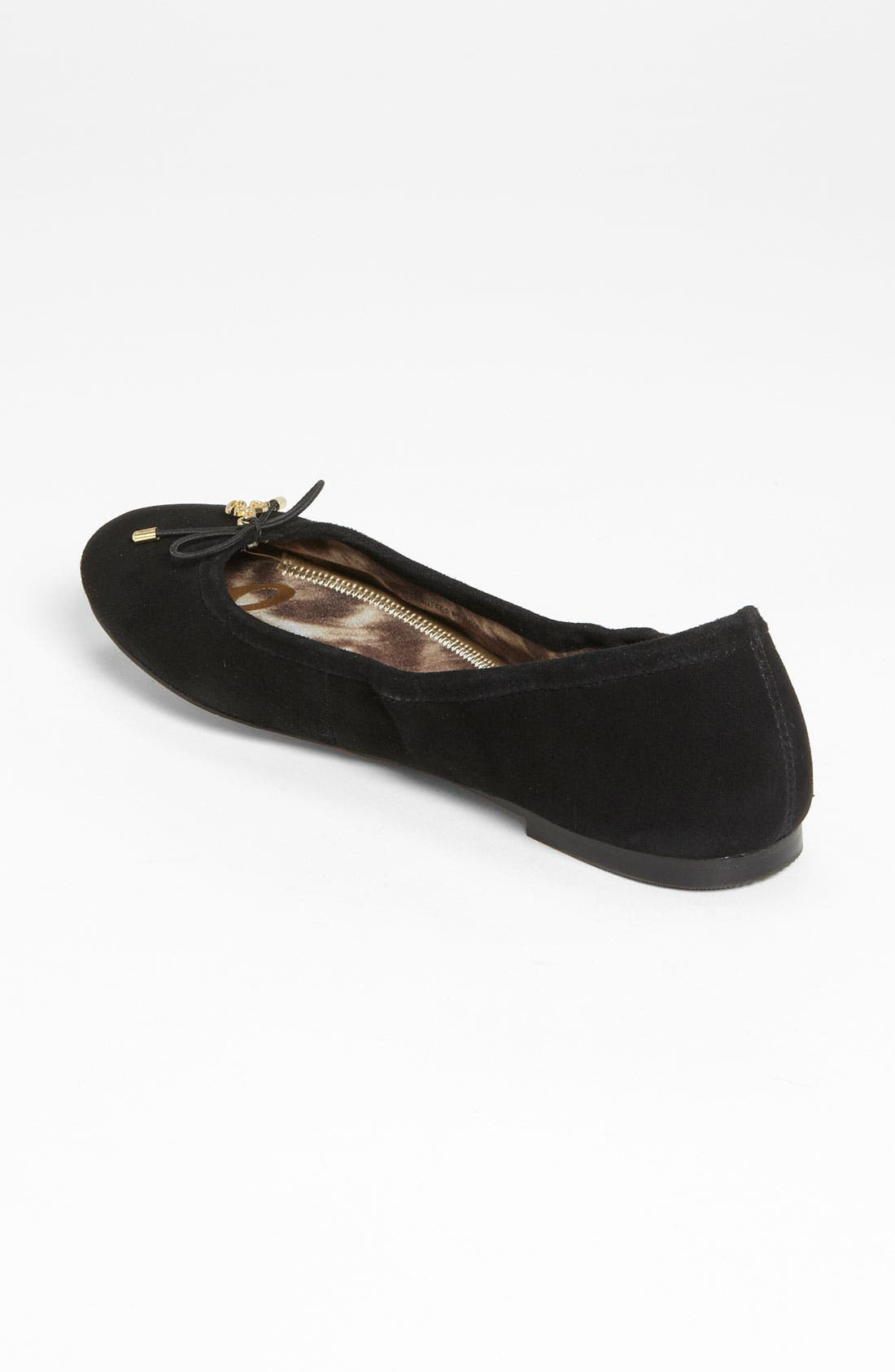 SAM EDELMAN, Felicia Flat, Alternate thumbnail 6, color, BLACK SUEDE