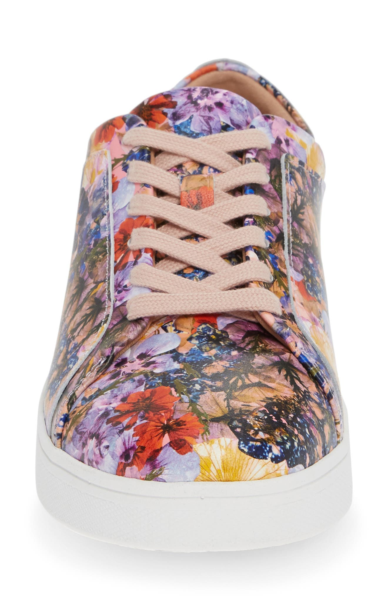 FITFLOP, Rally Flower Crush Leather Sneaker, Alternate thumbnail 4, color, OYSTER PINK FLOWER