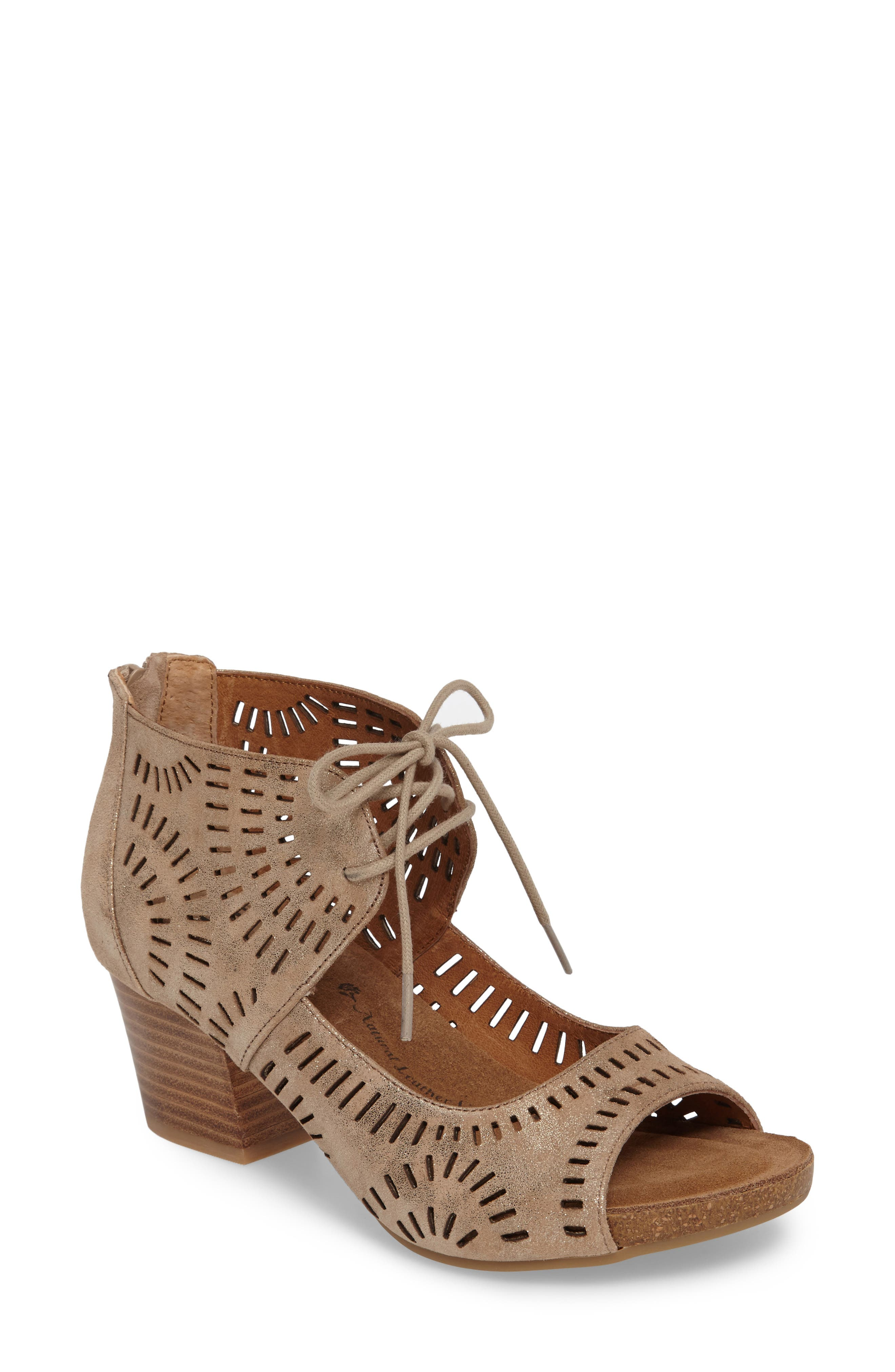 SÖFFT, Modesto Perforated Sandal, Main thumbnail 1, color, ANTHRACITE DISTRESSED FOIL