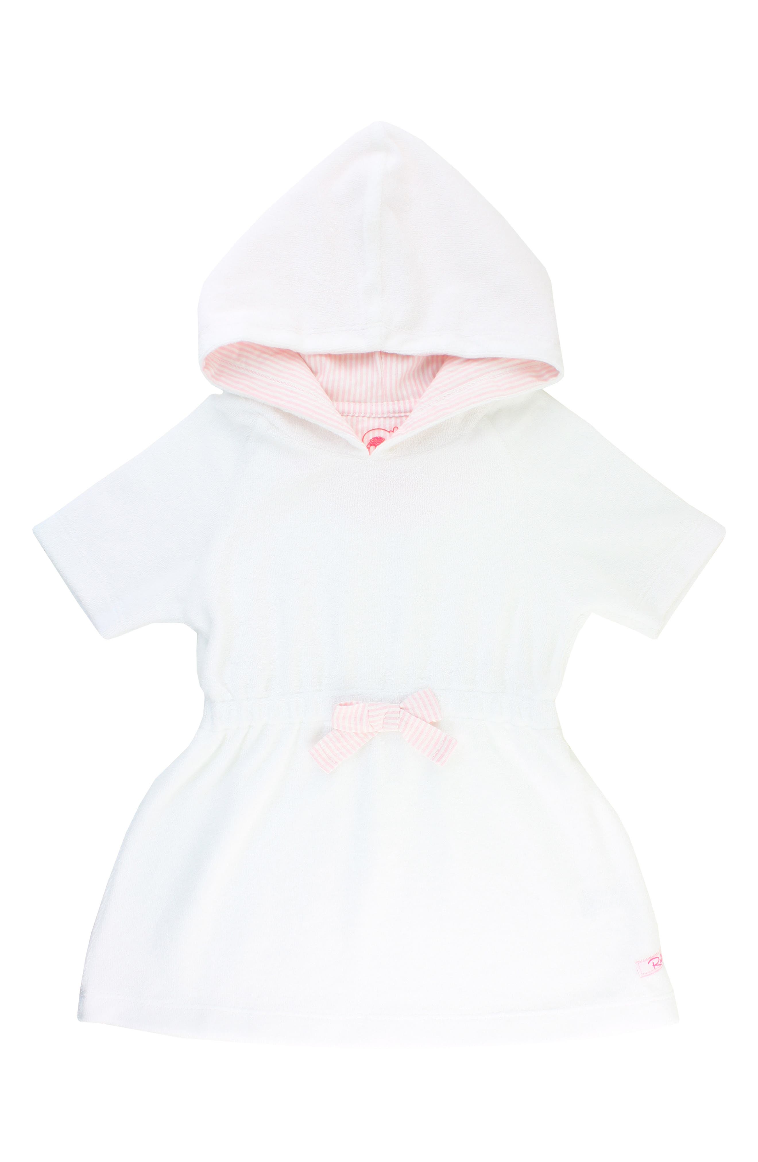 Infant Girls Rufflebutts French Terry Hooded CoverUp Dress Size 36M  White