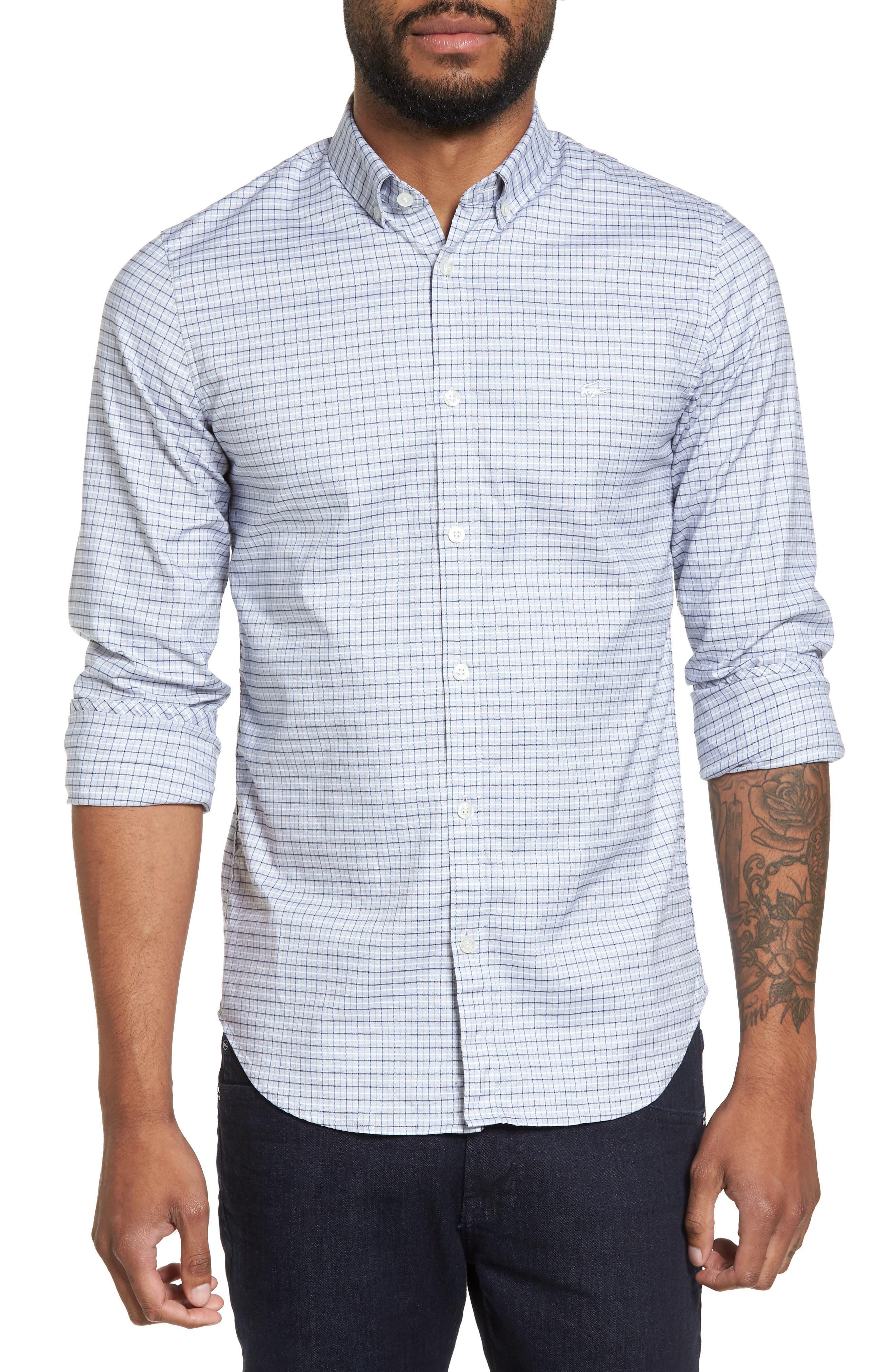 LACOSTE, Slim Fit Plaid Shirt, Main thumbnail 1, color, 061