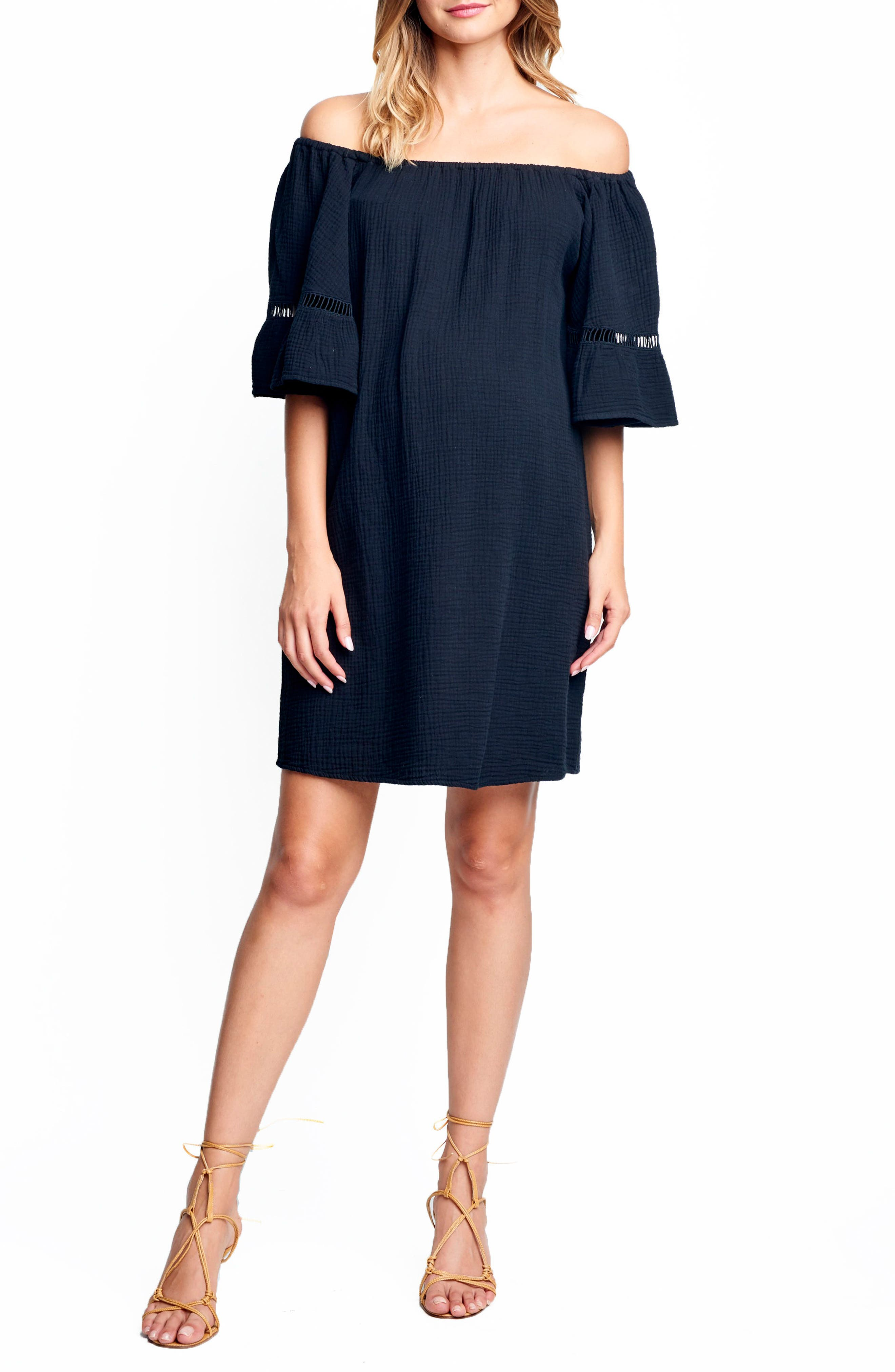 MATERNAL AMERICA Off the Shoulder Maternity Dress, Main, color, 001