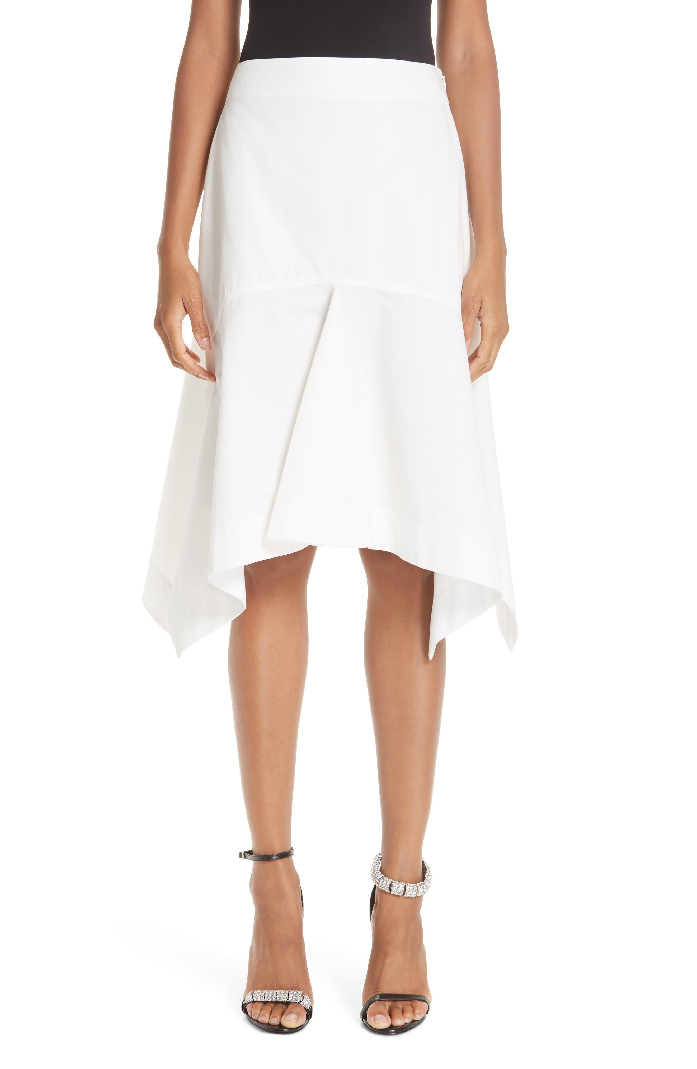 CALVIN KLEIN 205W39NYC Sharkbite Hem Cotton Gabardine Skirt, Main, color, WHITE