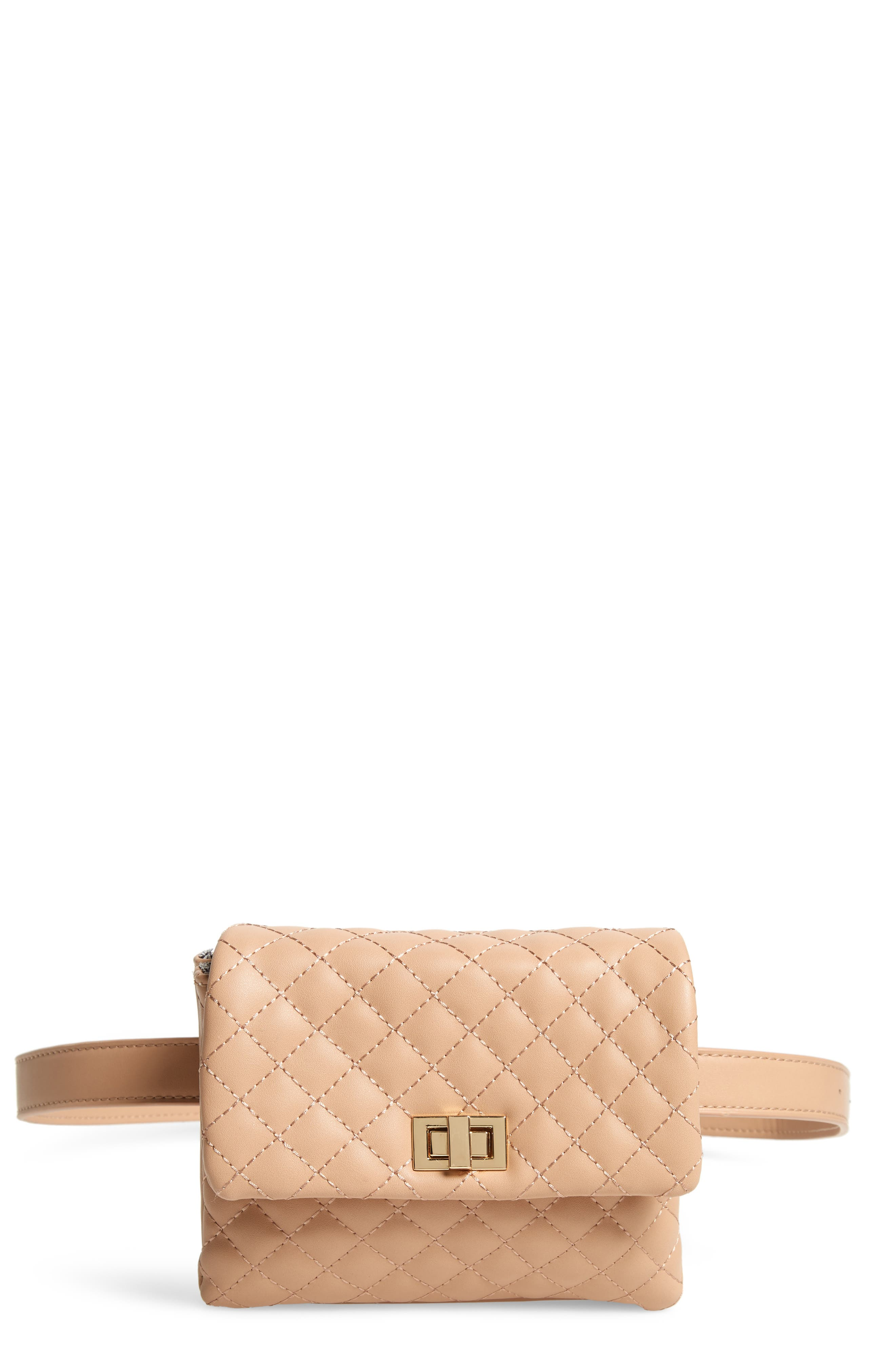 MALI + LILI, Quilted Vegan Leather Belt Bag, Main thumbnail 1, color, CAMEL