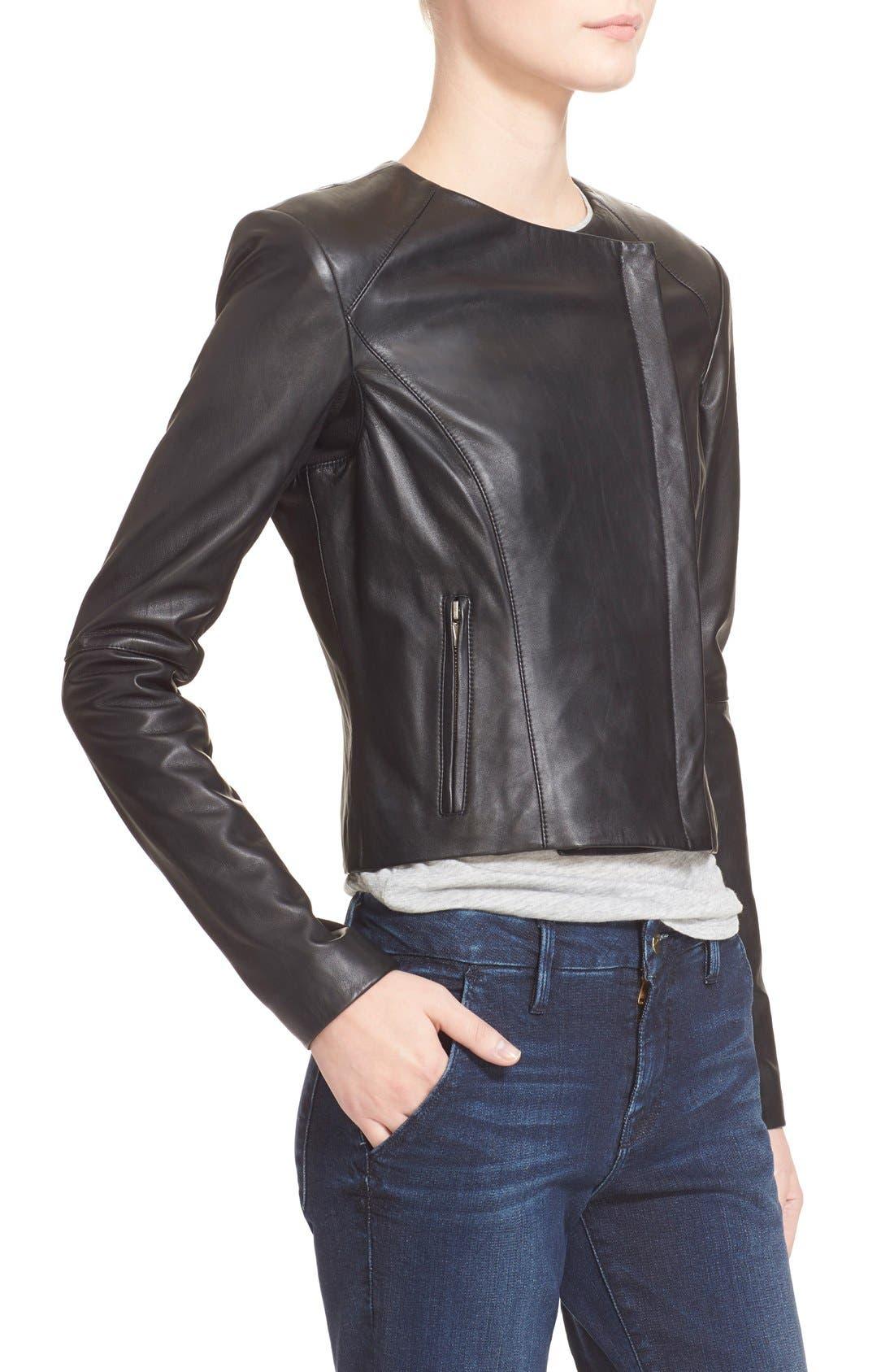 VEDA, 'Dali' Leather Jacket, Alternate thumbnail 3, color, 001