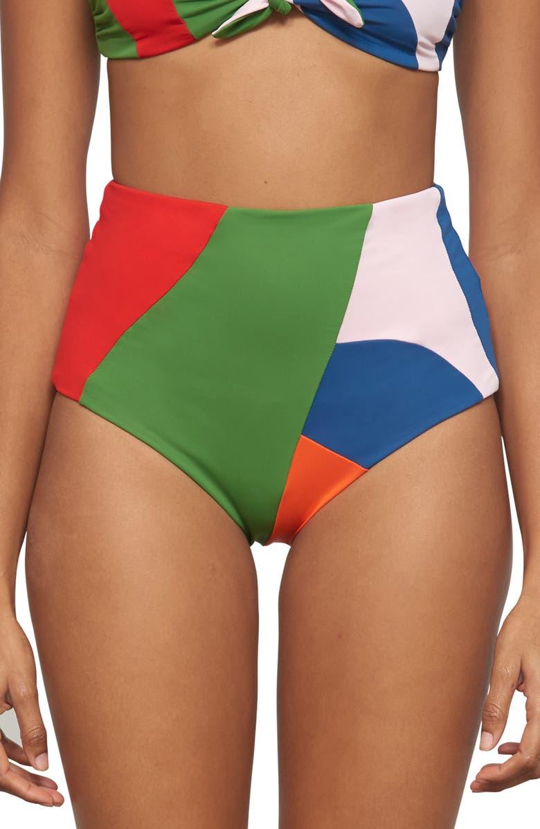 4091e15ba3cb1 Mara Hoffman Lydia High Waist Bikini Bottoms In Red Multi | ModeSens