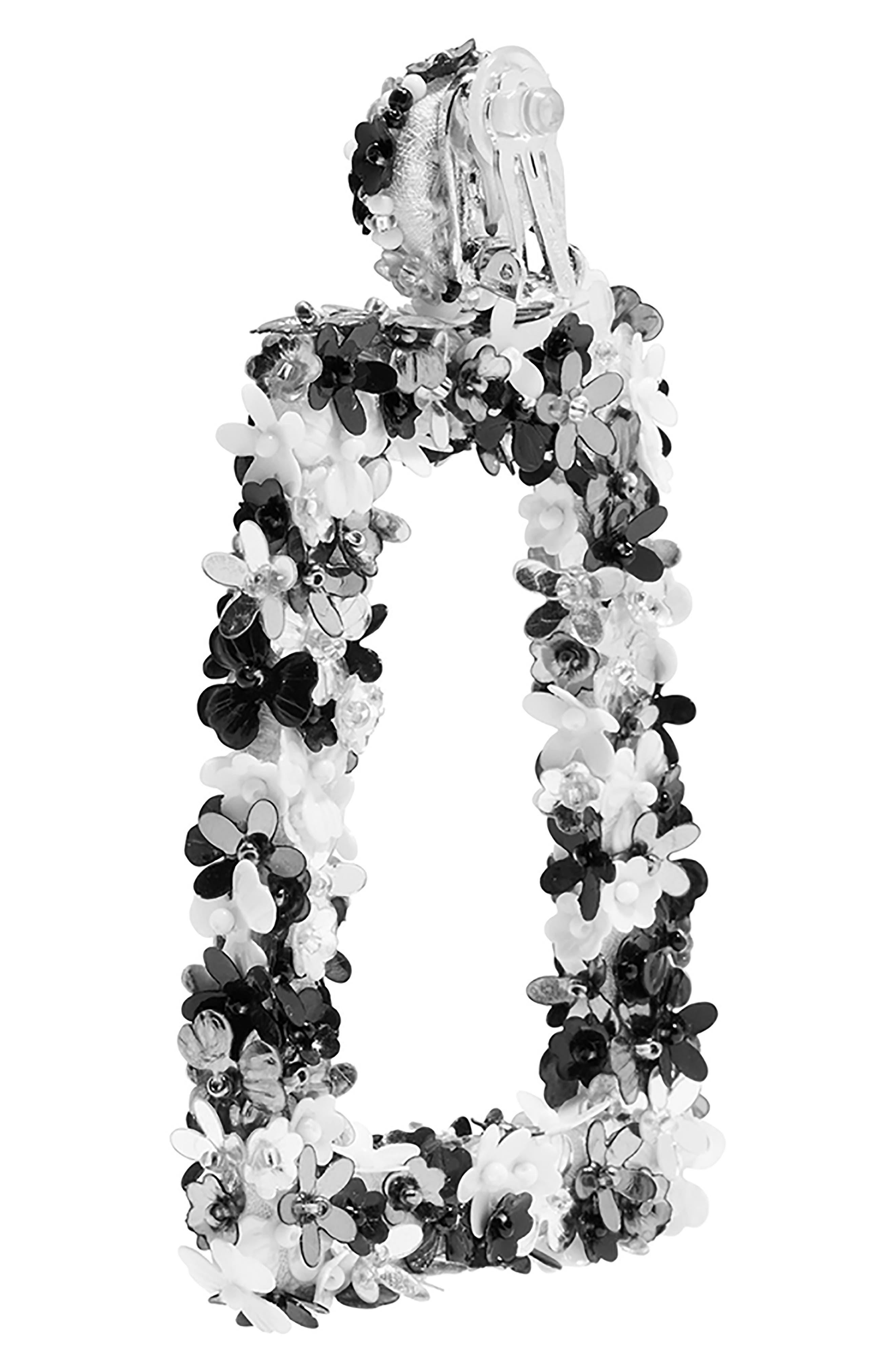 SACHIN & BABI, Noir Fleur Dusk Earrings, Alternate thumbnail 2, color, BLACK MULTI