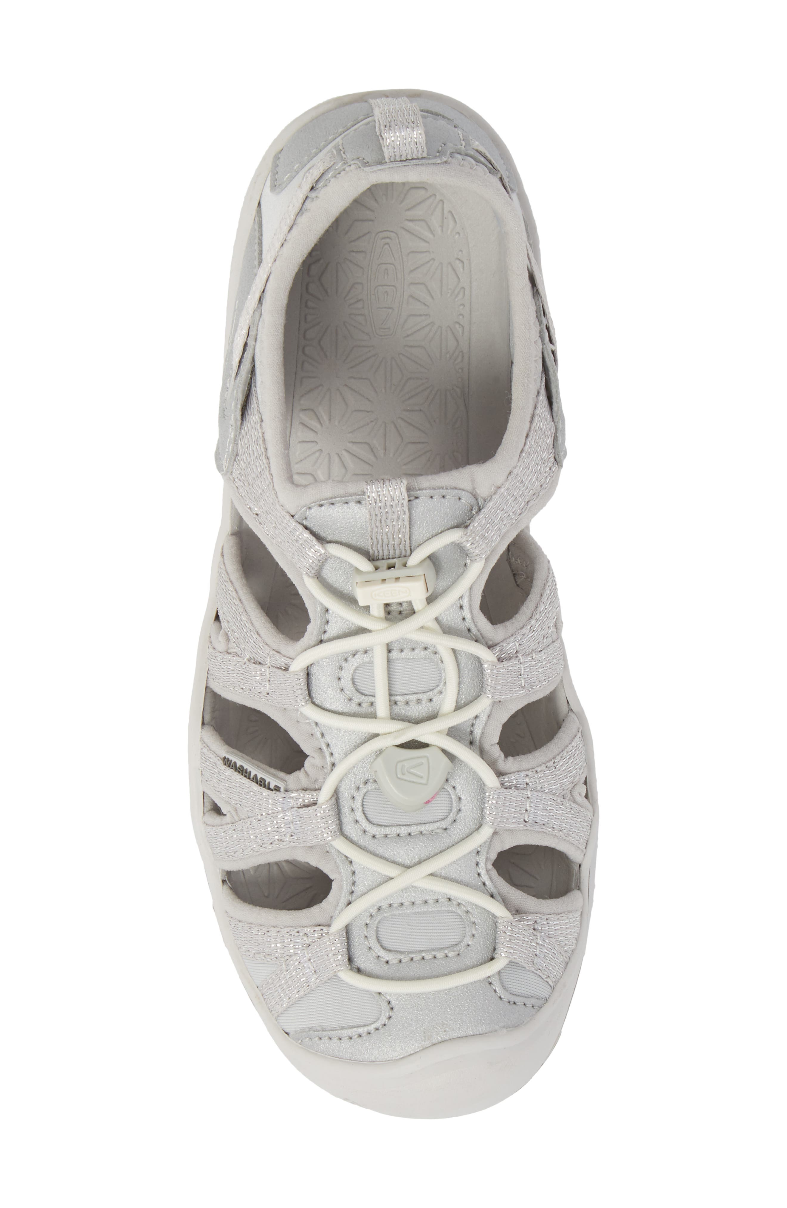 KEEN, Moxie Water Friendly Sandal, Alternate thumbnail 5, color, SILVER