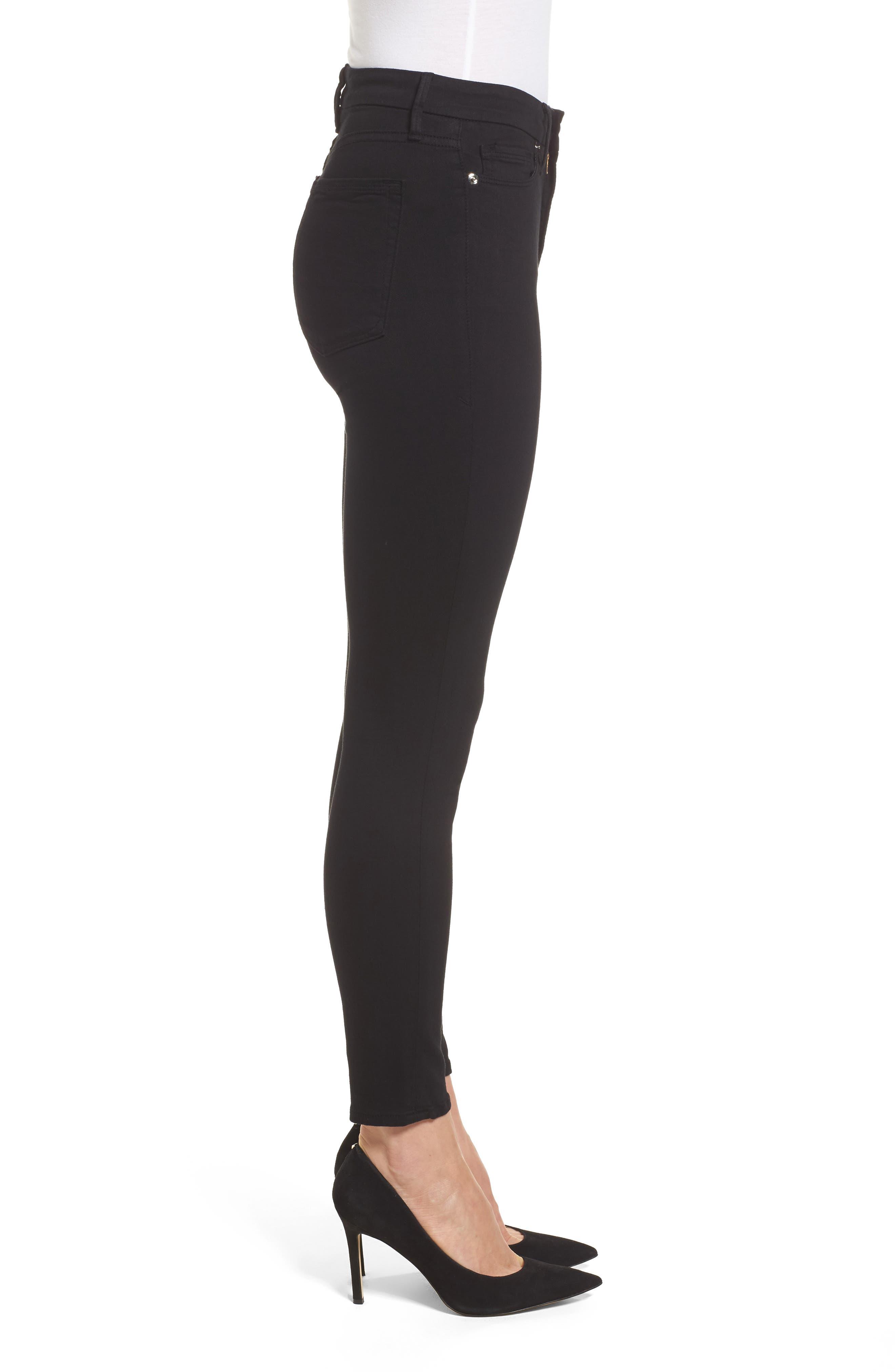 GOOD AMERICAN, Good Legs High Rise Crop Skinny Jeans, Alternate thumbnail 4, color, BLACK 001