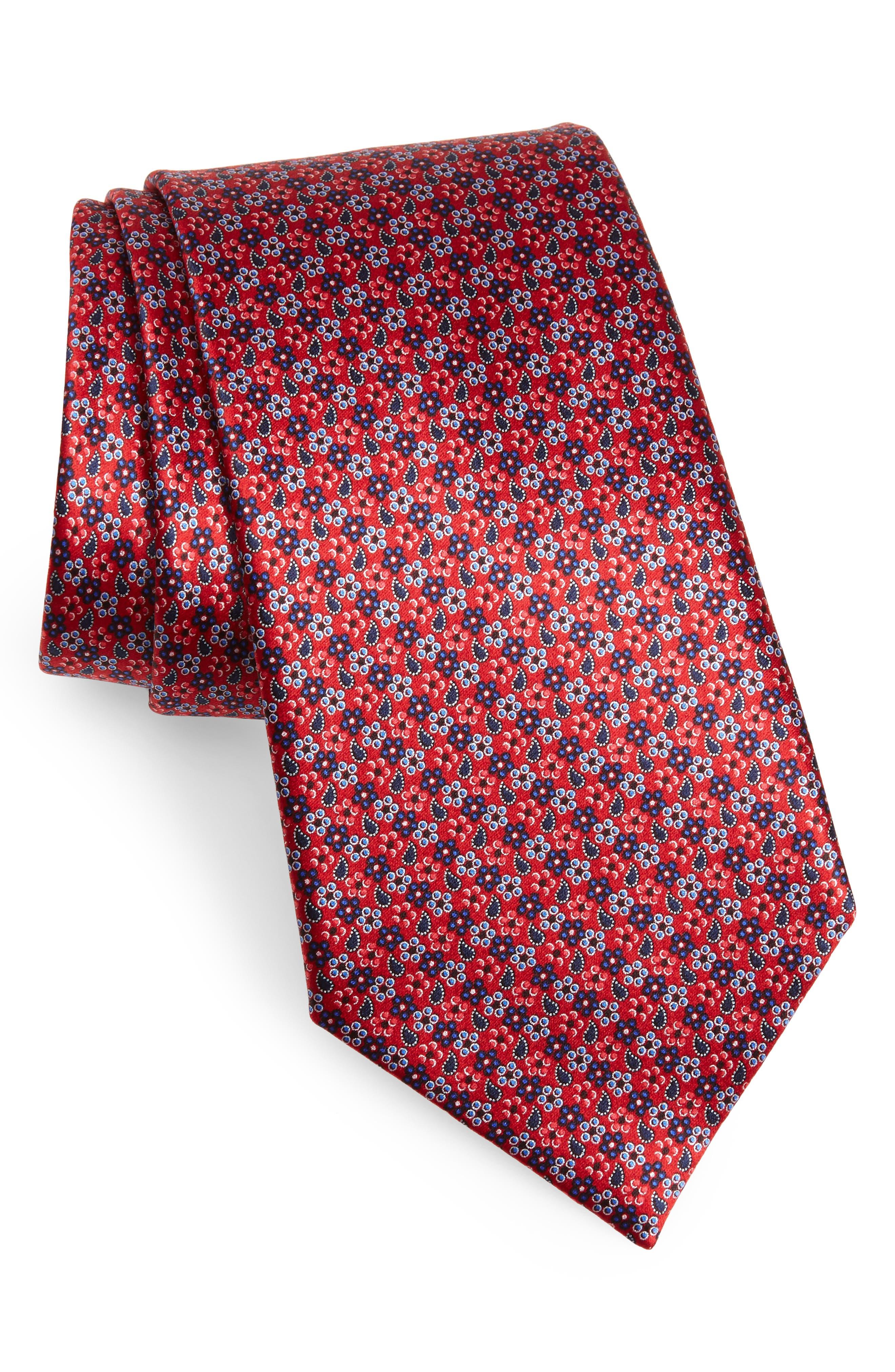 ERMENEGILDO ZEGNA, Microfloral Silk Tie, Main thumbnail 1, color, 618