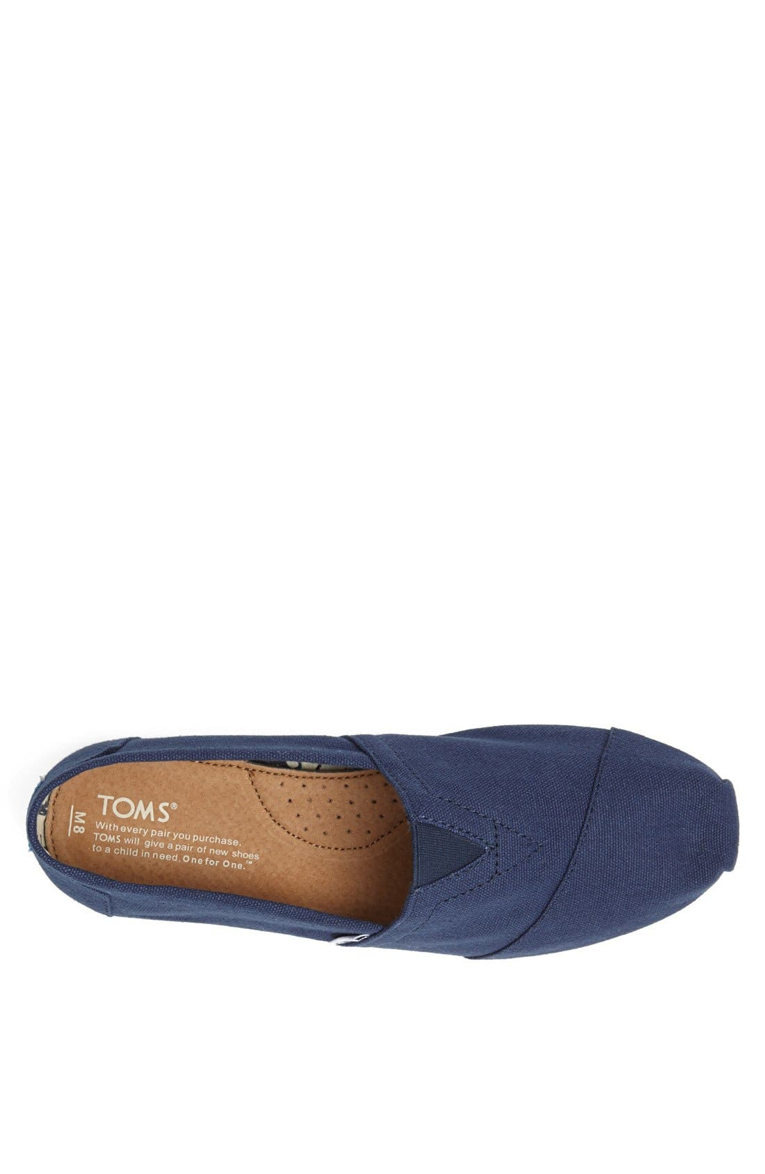 TOMS, 'Classic' Canvas Slip-On, Alternate thumbnail 6, color, NAVY