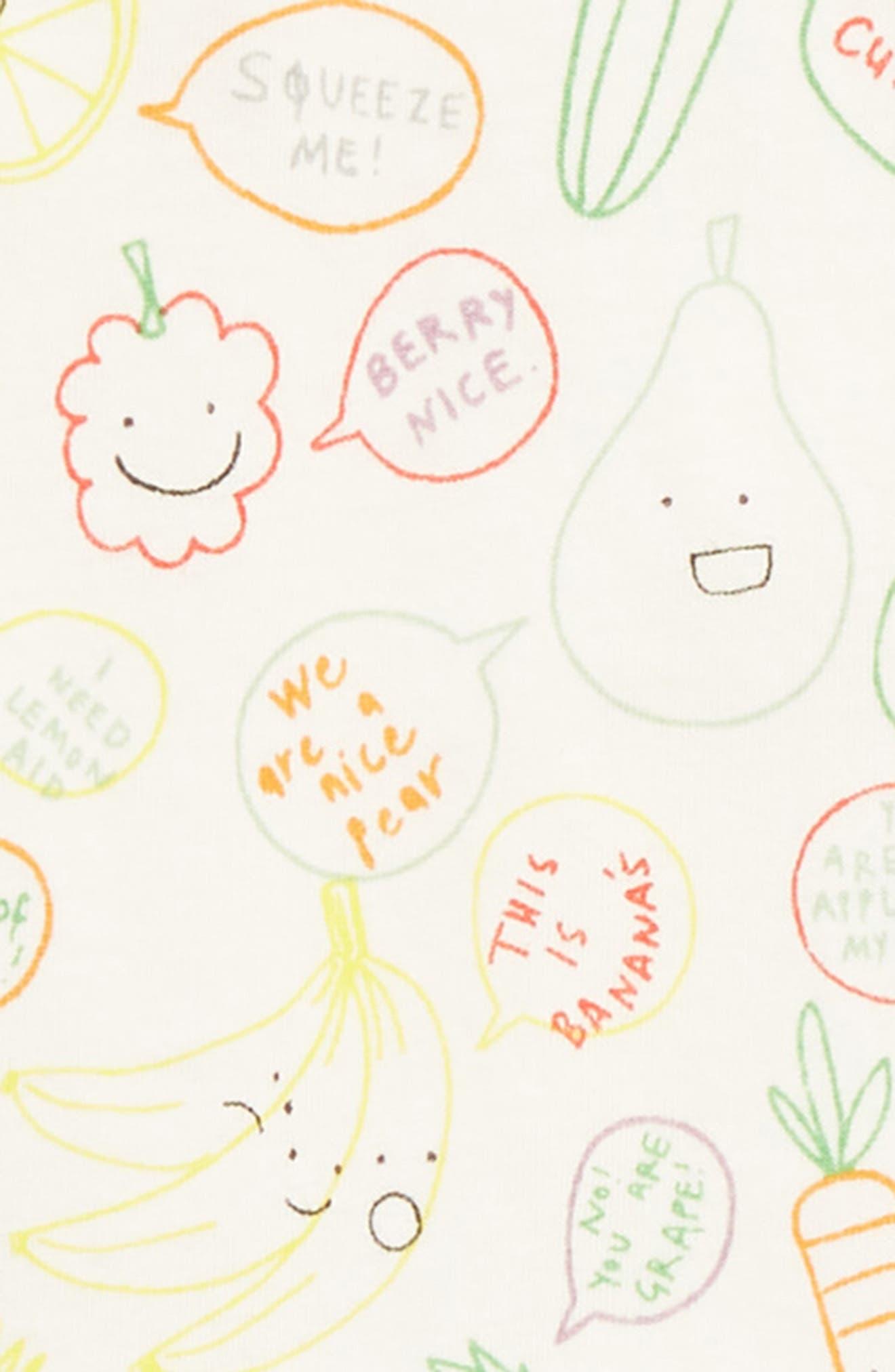 STELLA MCCARTNEY KIDS, Stella McCartney Fruit & Veggie Print Footie, Alternate thumbnail 2, color, 9092 MULTI