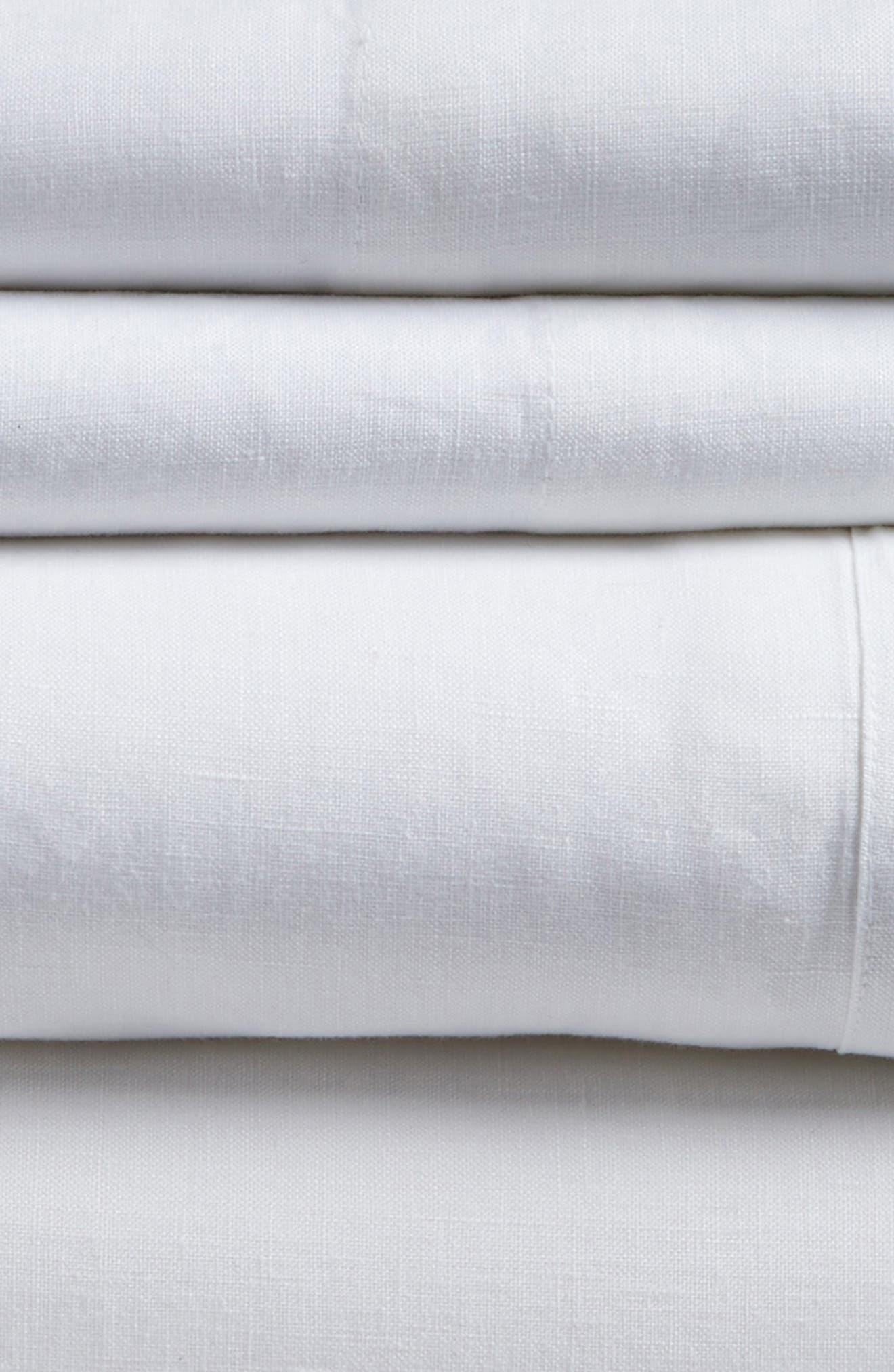 POM POM AT HOME, Linen Sheet Set, Alternate thumbnail 2, color, WHITE