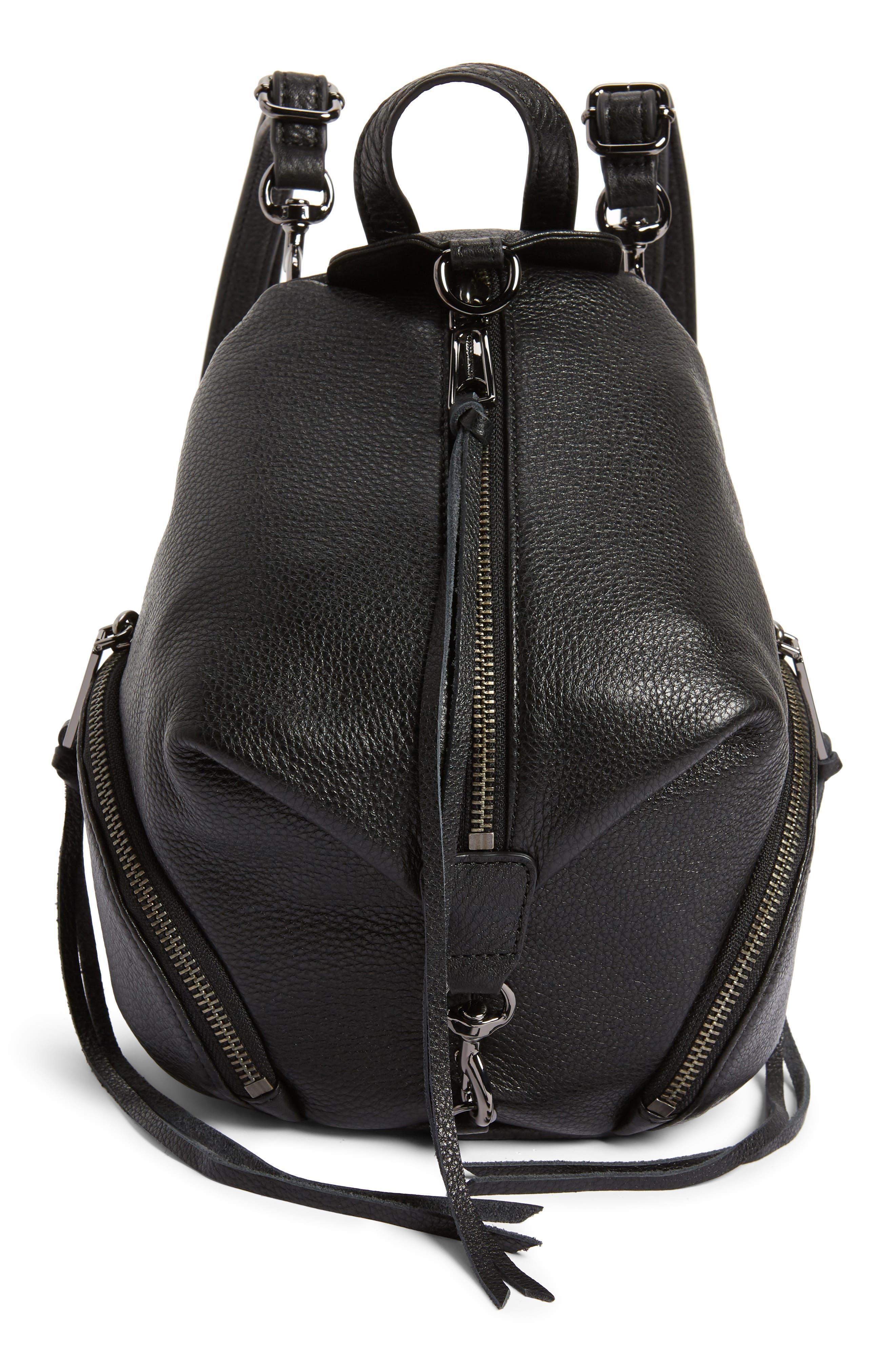 REBECCA MINKOFF, Mini Julian Pebbled Leather Convertible Backpack, Main thumbnail 1, color, BLACK