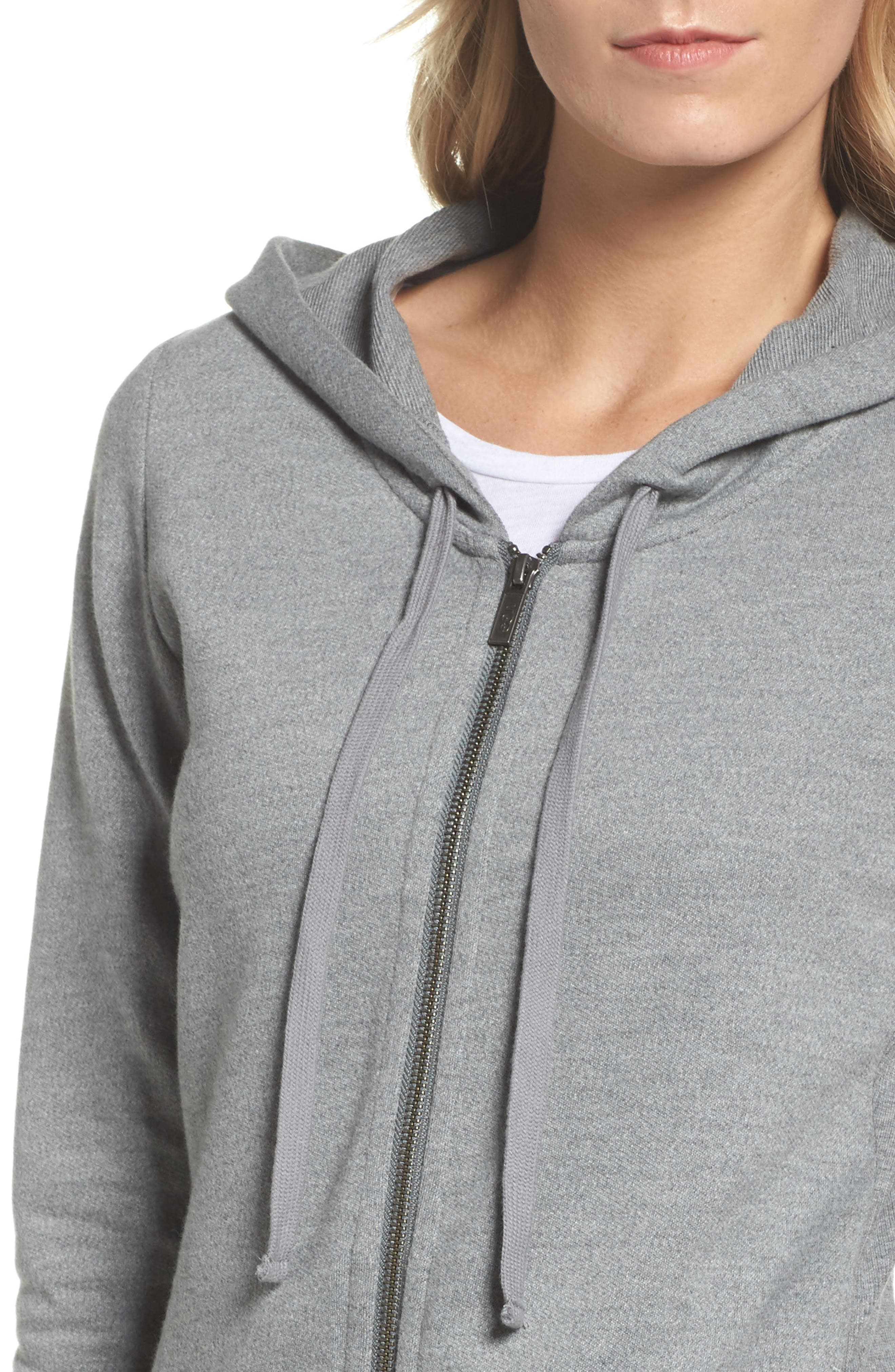 UGG<SUP>®</SUP>, Clara Zip Hoodie, Alternate thumbnail 4, color, GREY HEATHER