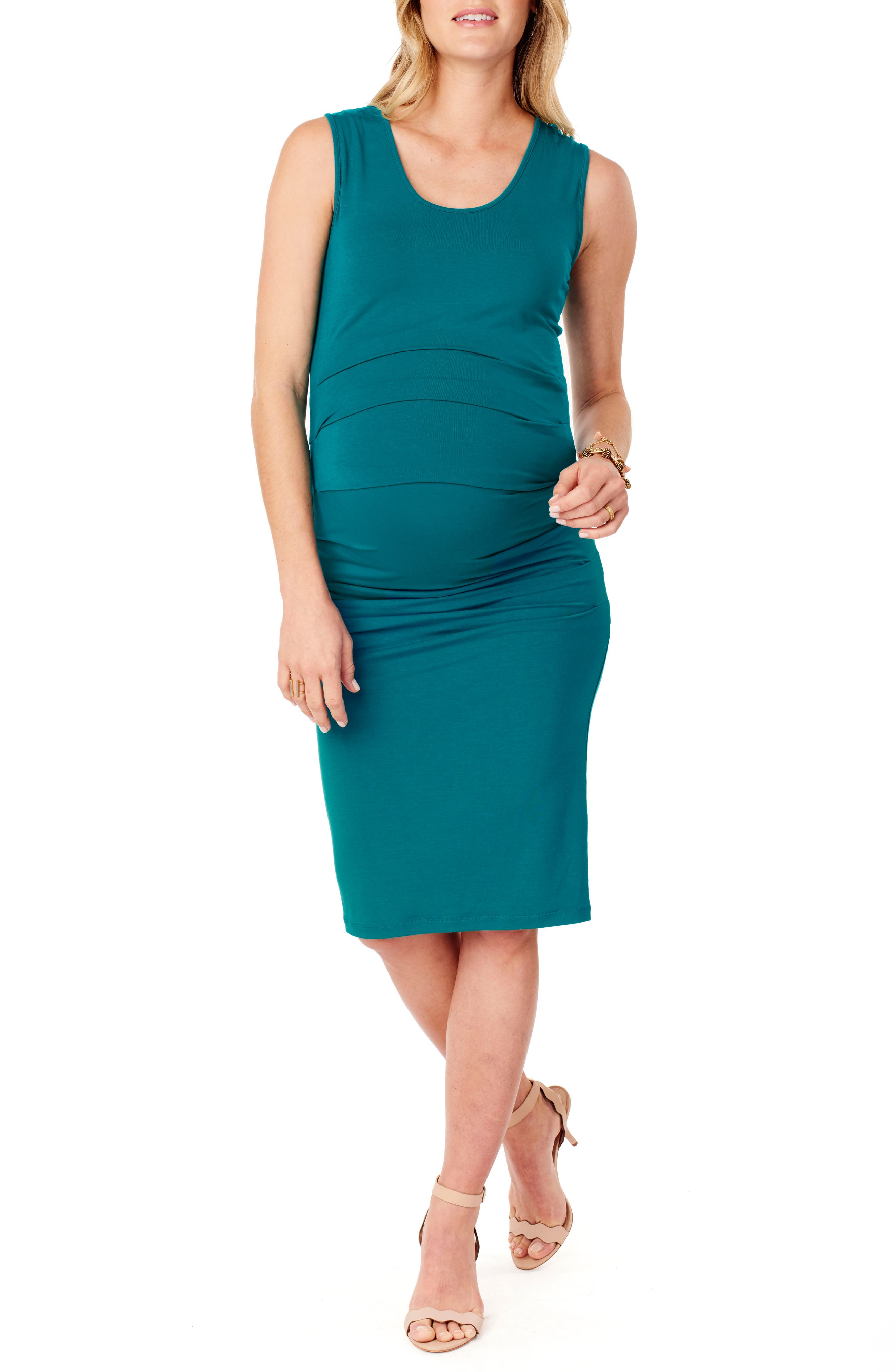 INGRID & ISABEL<SUP>®</SUP>, Ruched Maternity Tank Dress, Main thumbnail 1, color, TEAL