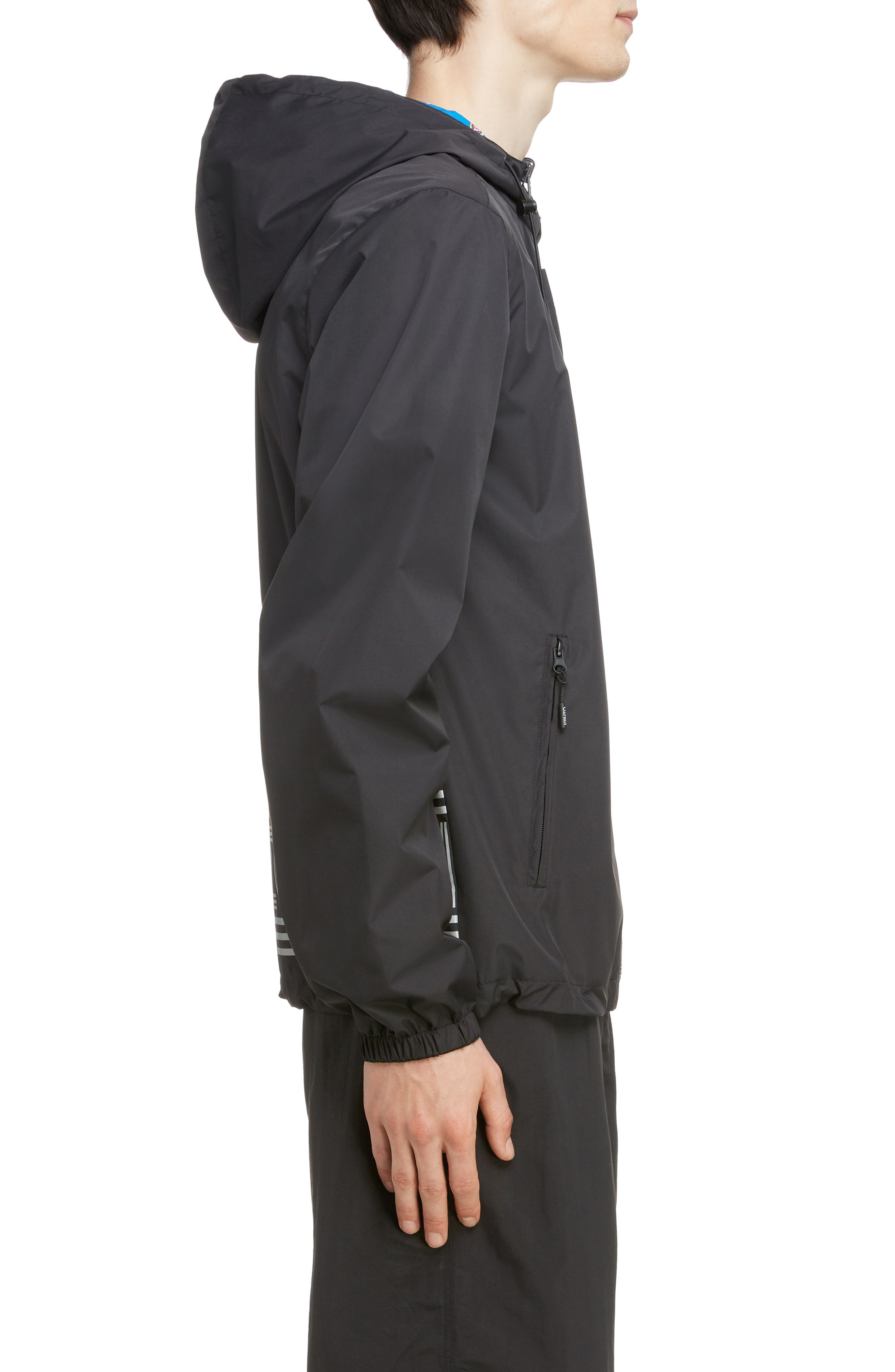KENZO, Reversible Hooded Windbreaker, Alternate thumbnail 4, color, BLACK