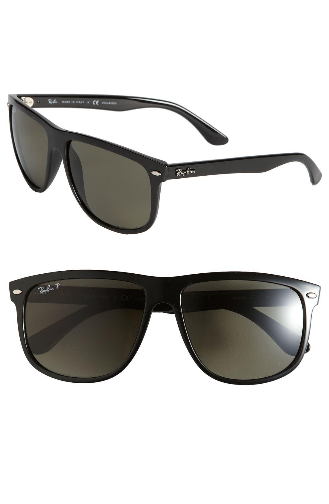 RAY-BAN, Highstreet 60mm Polarized Flat Top Sunglasses, Main thumbnail 1, color, BLACK POLARIZED