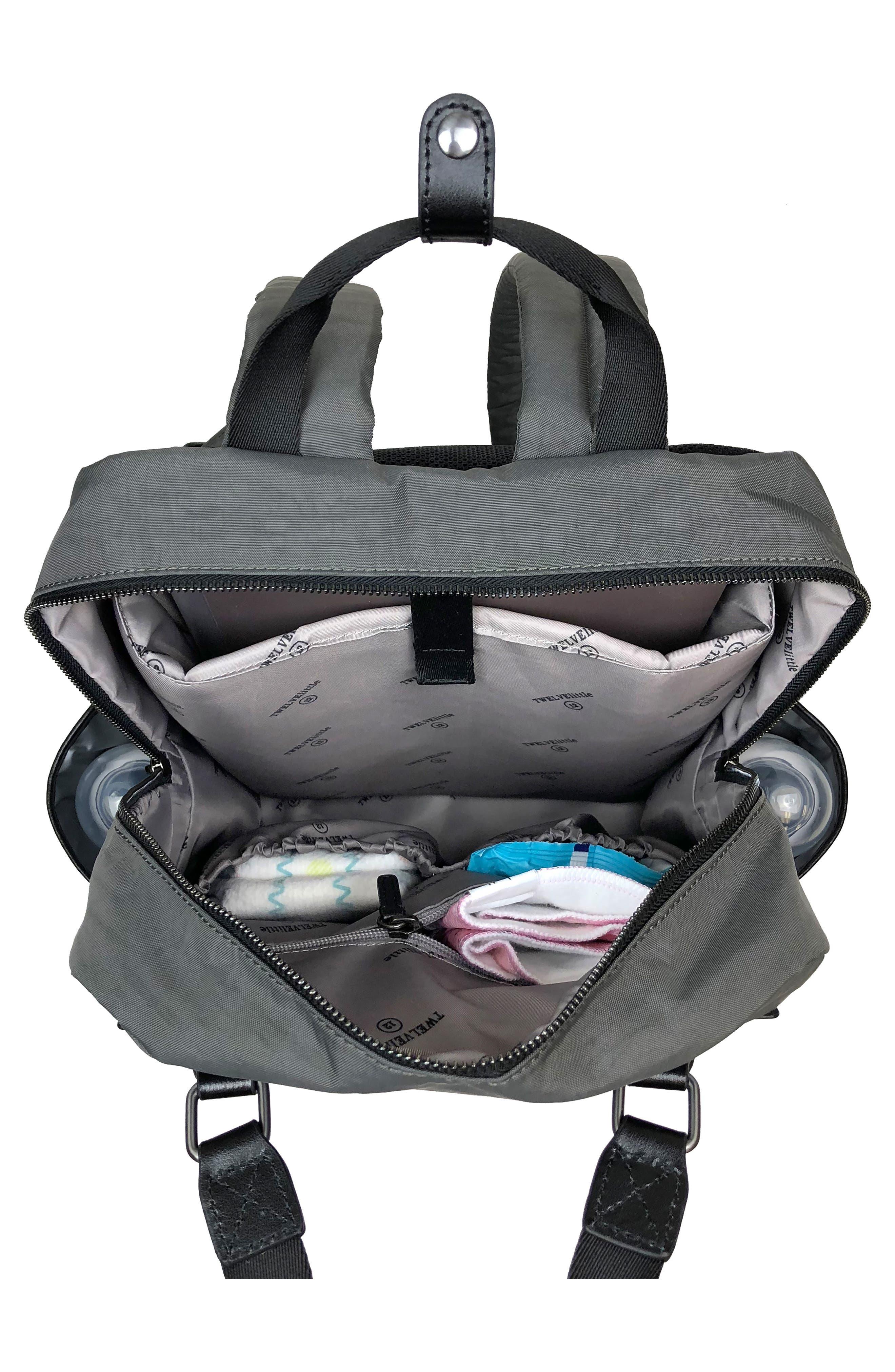 TWELVELITTLE, 'Courage' Unisex Backpack Diaper Bag, Alternate thumbnail 3, color, DARK GREY