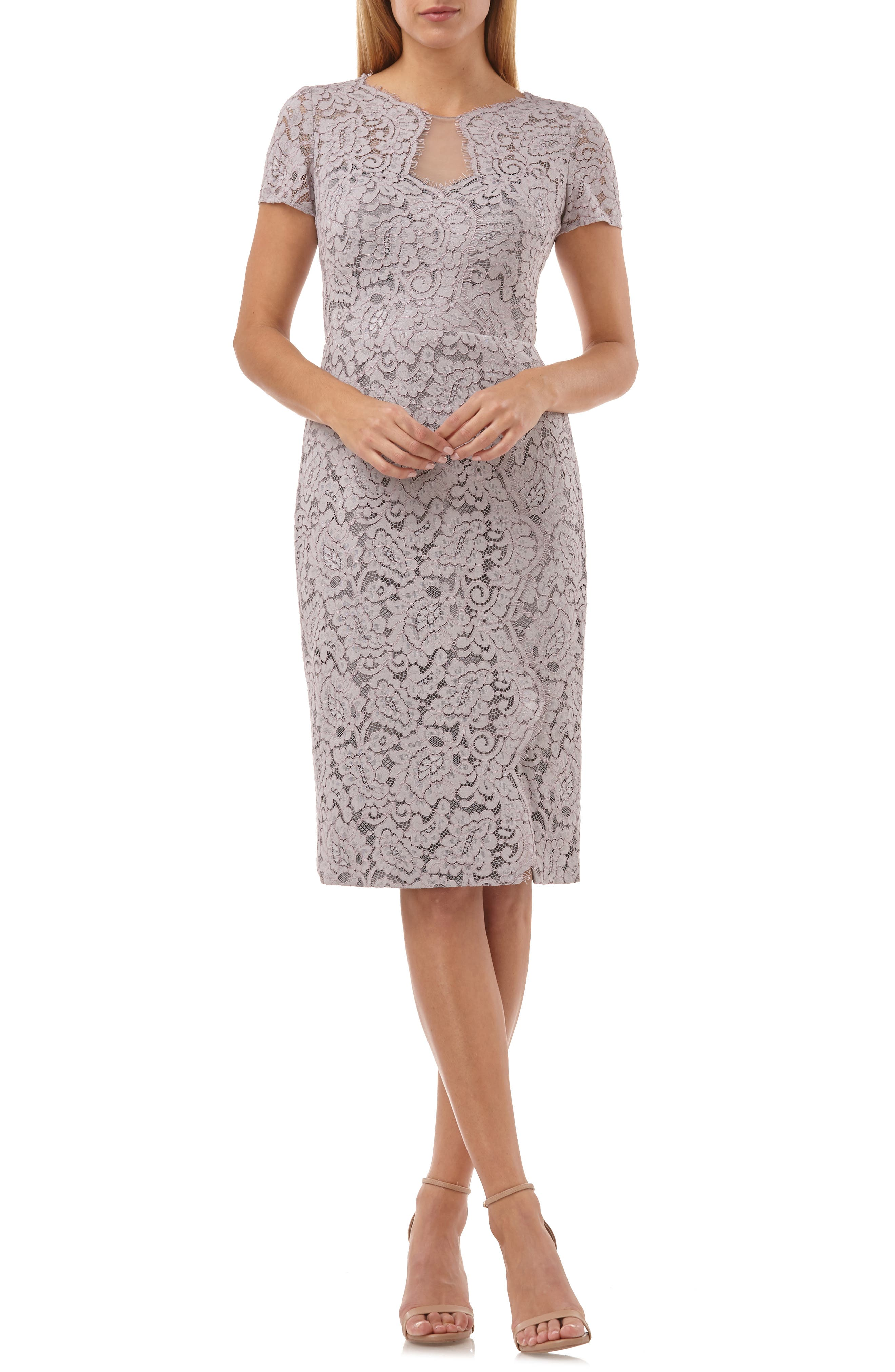 JS COLLECTIONS Lace Cocktail Dress, Main, color, TAUPE