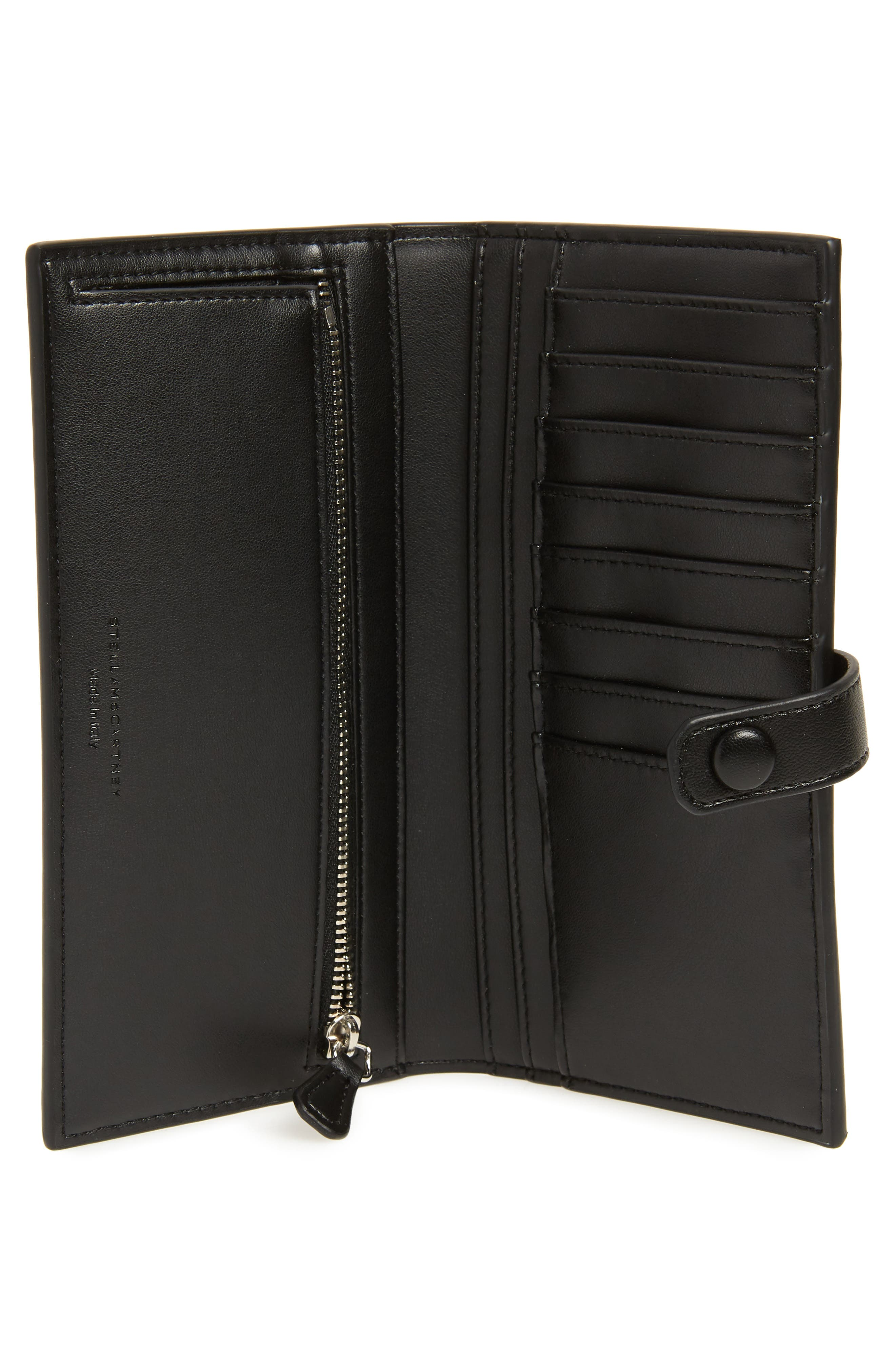 STELLA MCCARTNEY, Logo Perforated Faux Leather Continental Wallet, Alternate thumbnail 4, color, BLACK