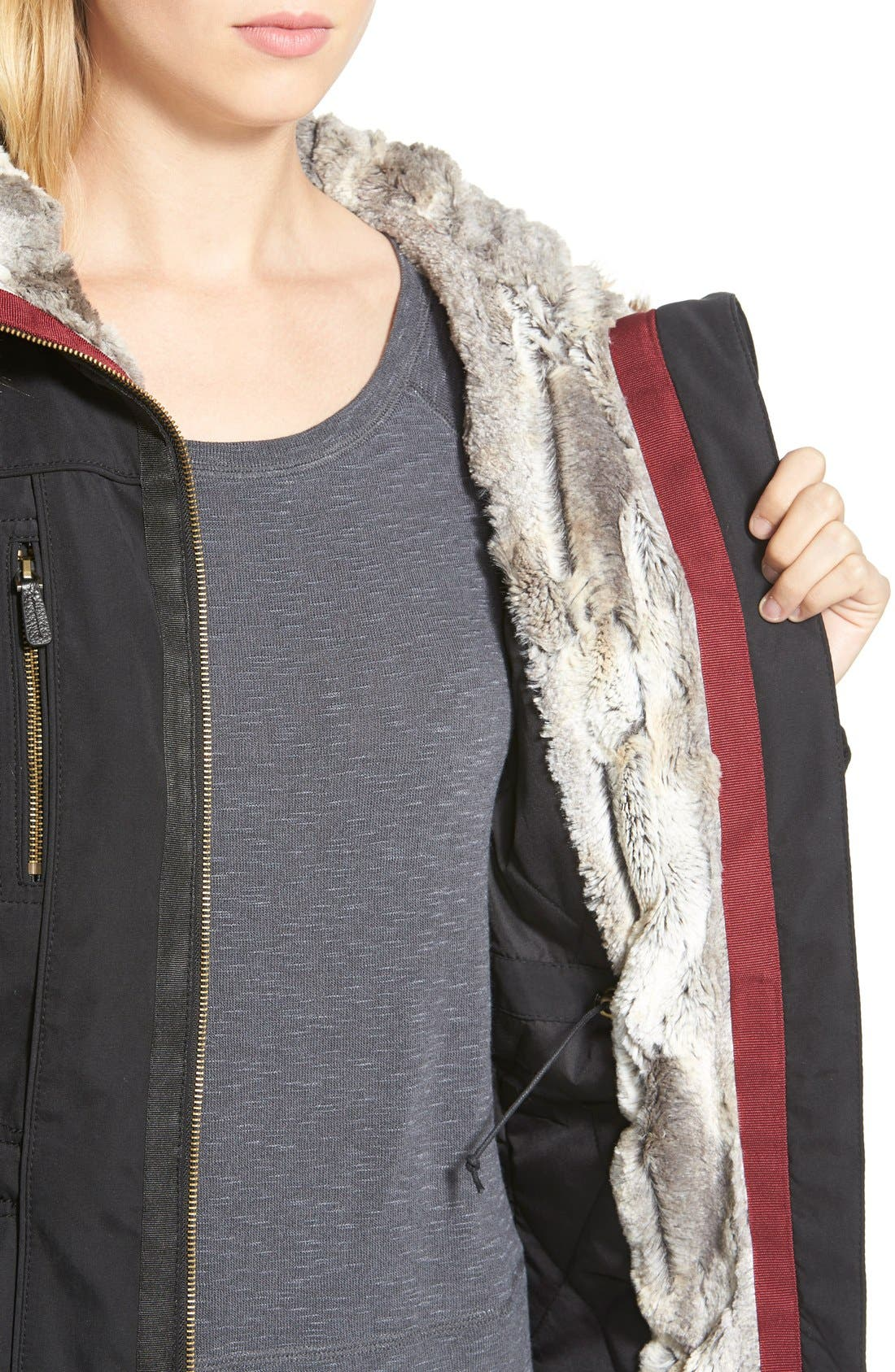 1 MADISON, Faux Fur Trim Parka, Alternate thumbnail 4, color, 001