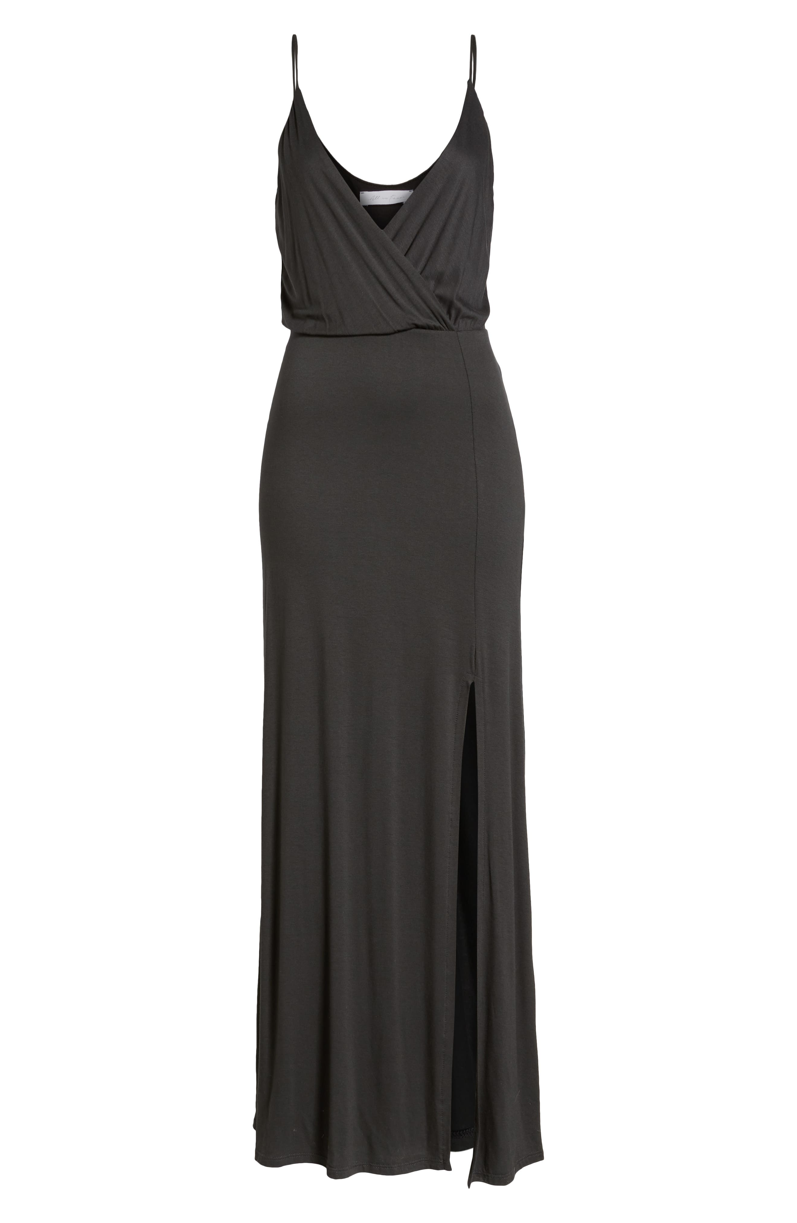 ALL IN FAVOR, Surplice Neck Knit Maxi Dress, Alternate thumbnail 7, color, CHARCOAL
