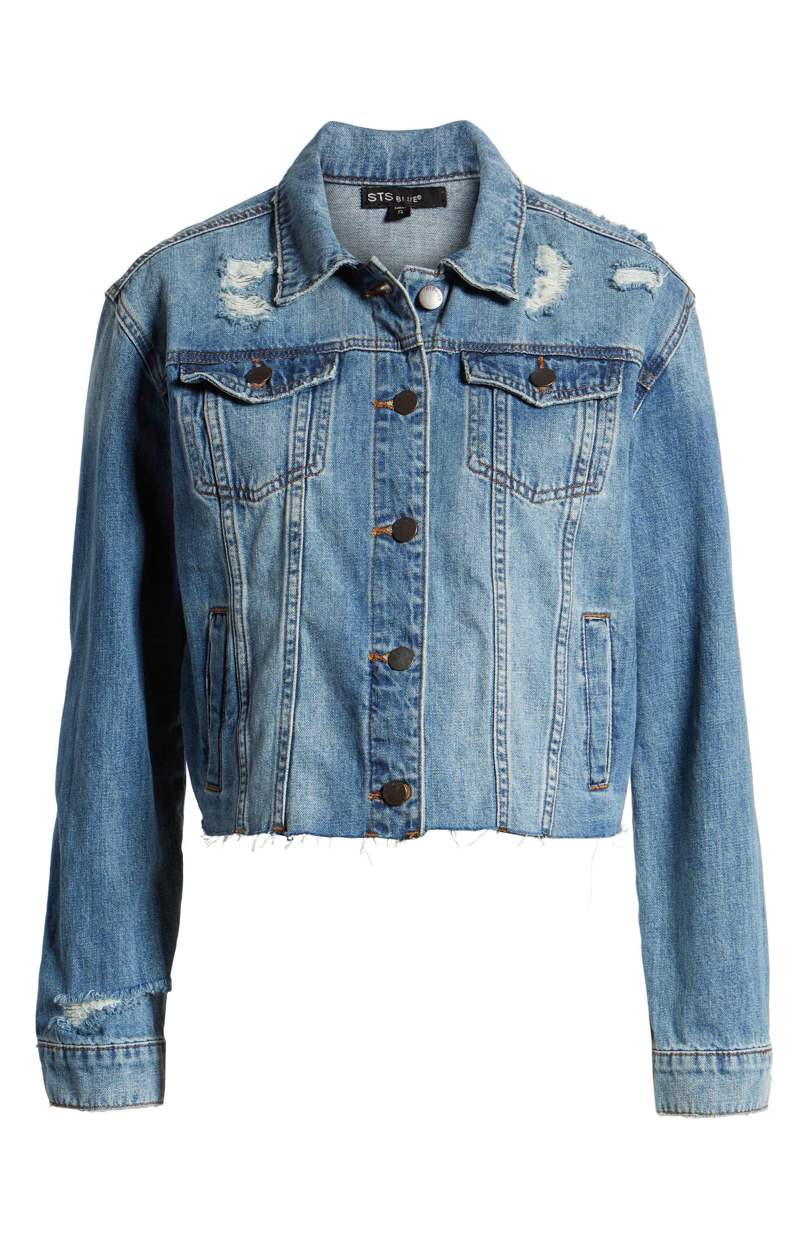 STS BLUE, Boyfriend Crop Denim Jacket, Alternate thumbnail 6, color, 400