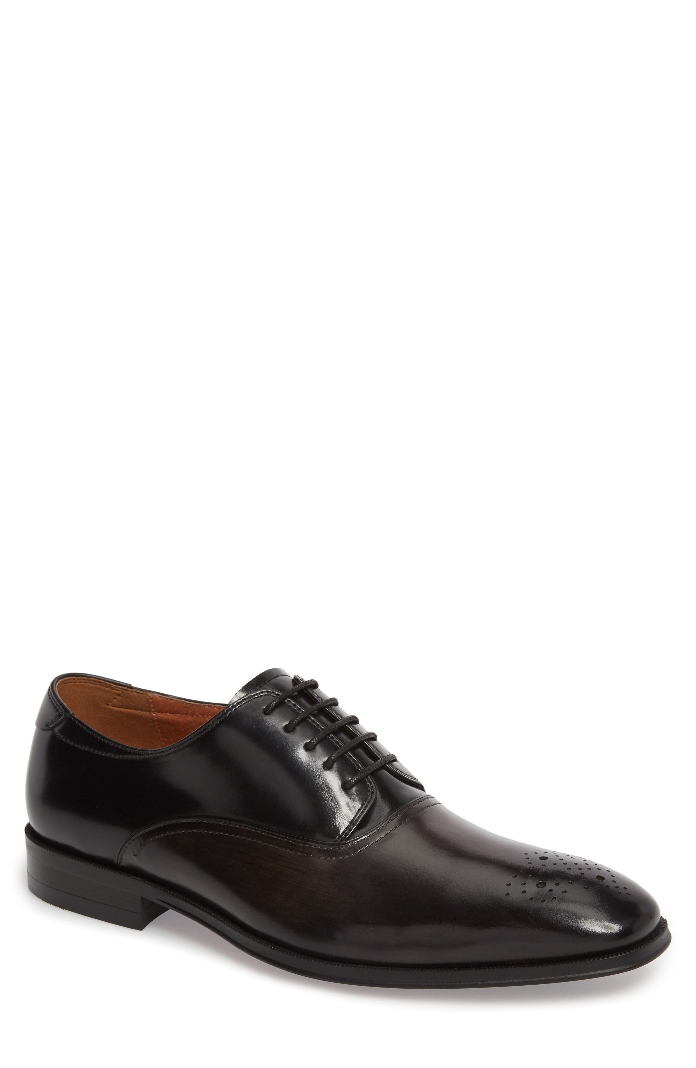 FLORSHEIM Belfast Brogued Derby, Main, color, GRAY/ BLACK LEATHER