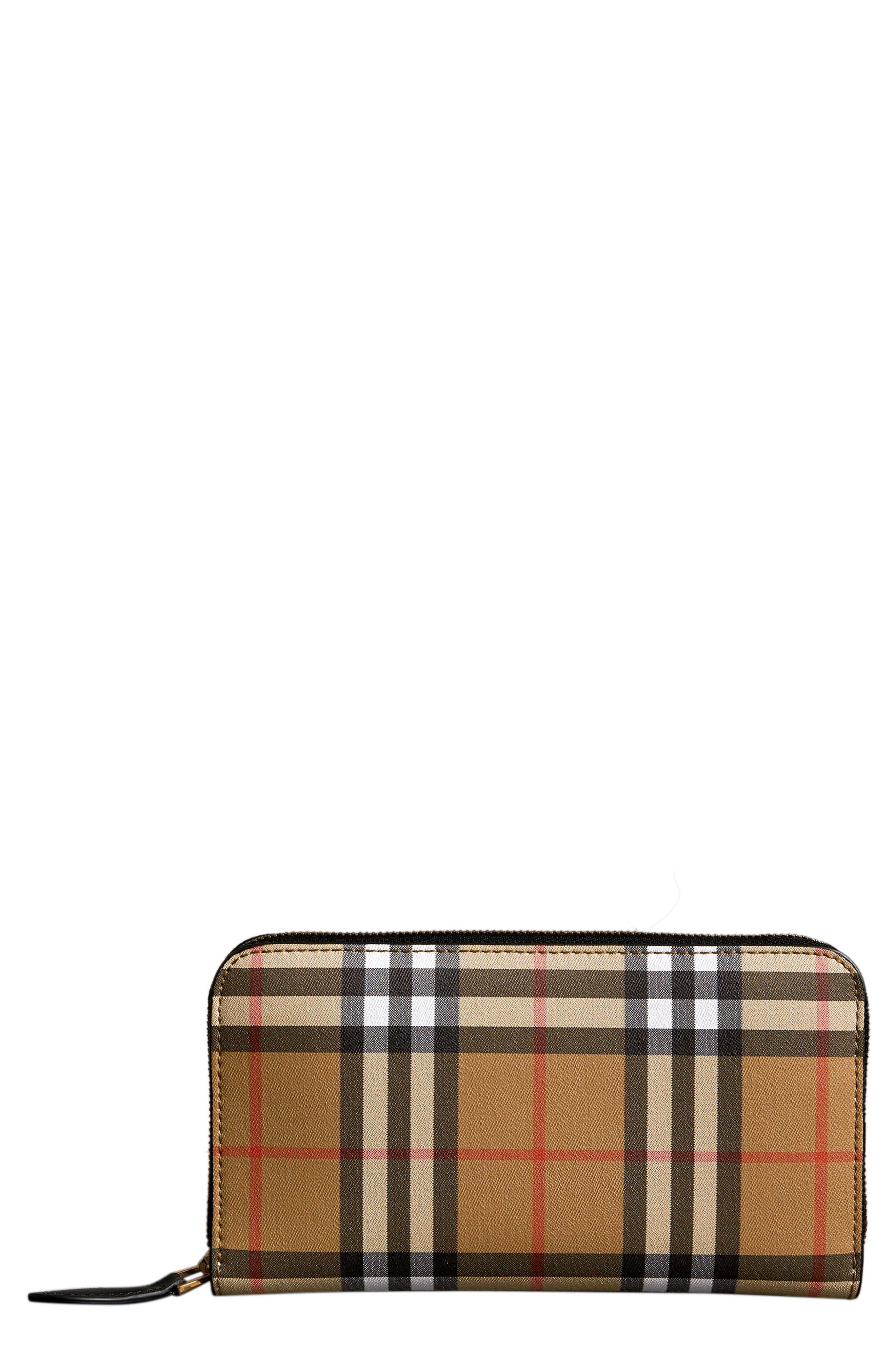 BURBERRY, Elmore Vintage Check Leather Zip Around Wallet, Main thumbnail 1, color, TAN/ BLACK