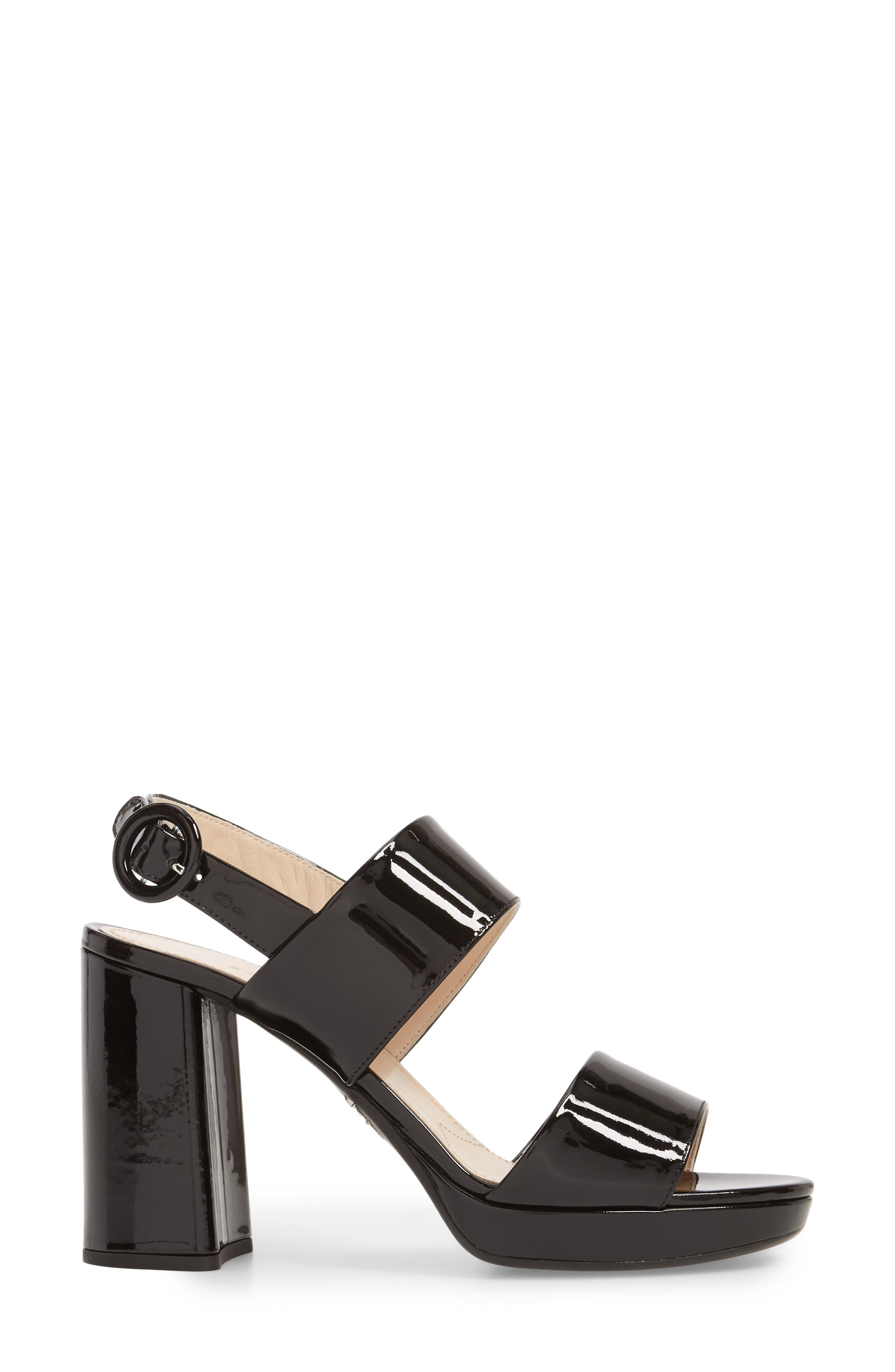 PRADA, Slingback Platform Sandal, Alternate thumbnail 3, color, BLACK PATENT