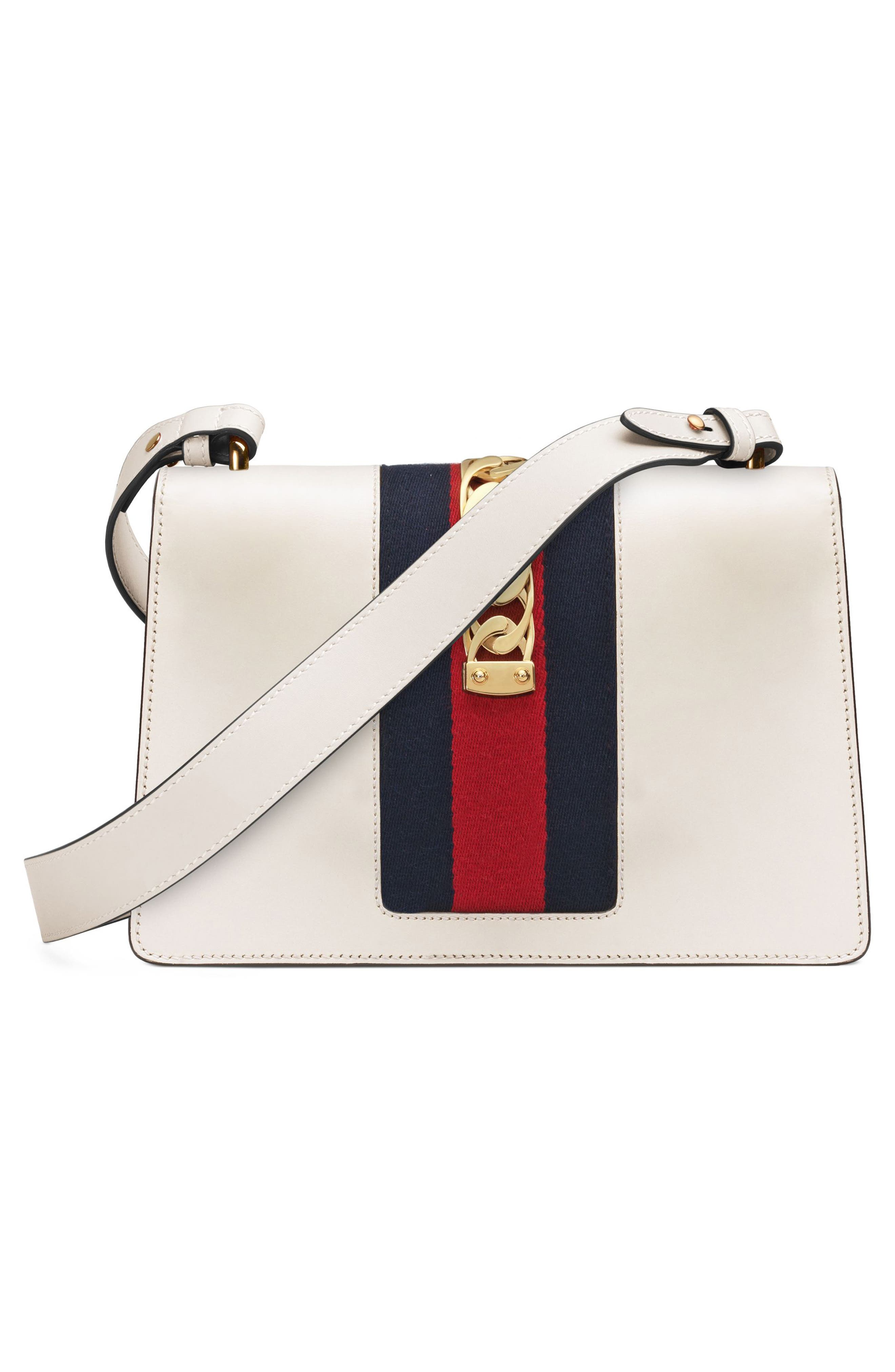 GUCCI, Small Sylvie Leather Shoulder Bag, Alternate thumbnail 6, color, WHITE