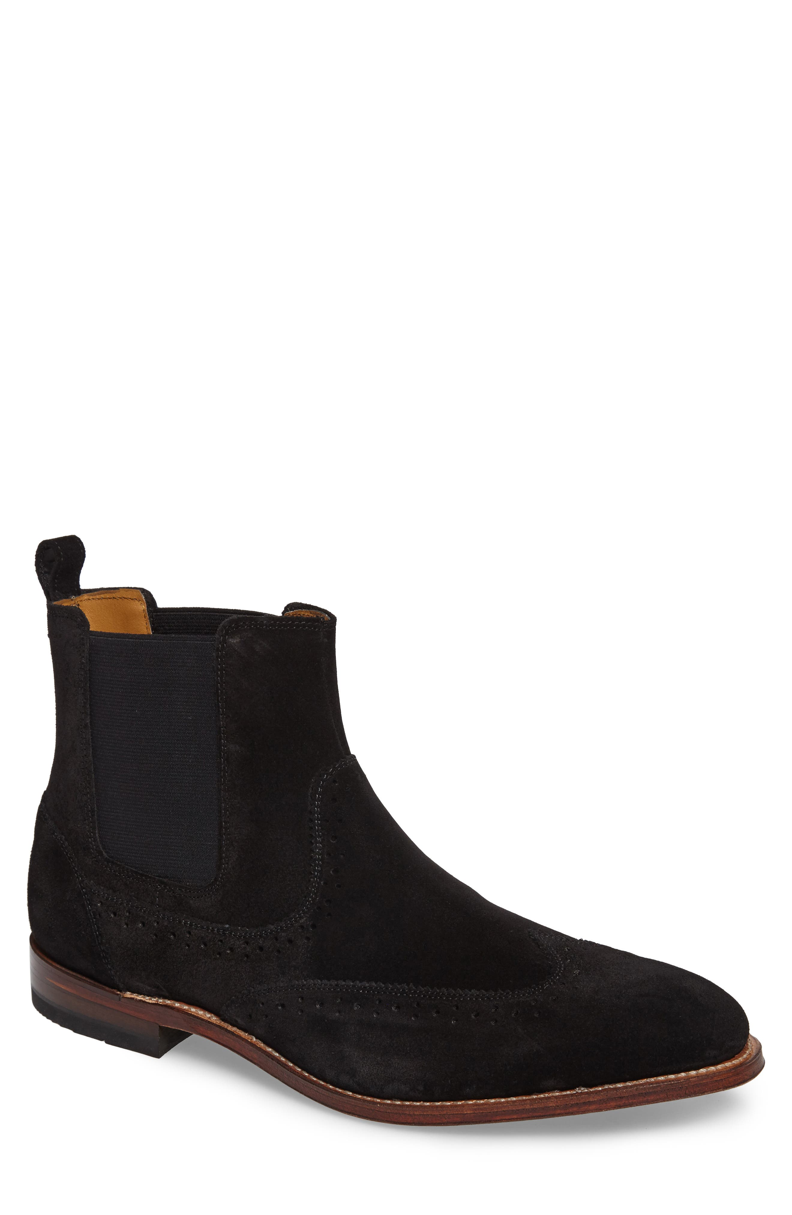 STACY ADAMS, Madison II Wingtip Chelsea Boot, Main thumbnail 1, color, BLACK SUEDE