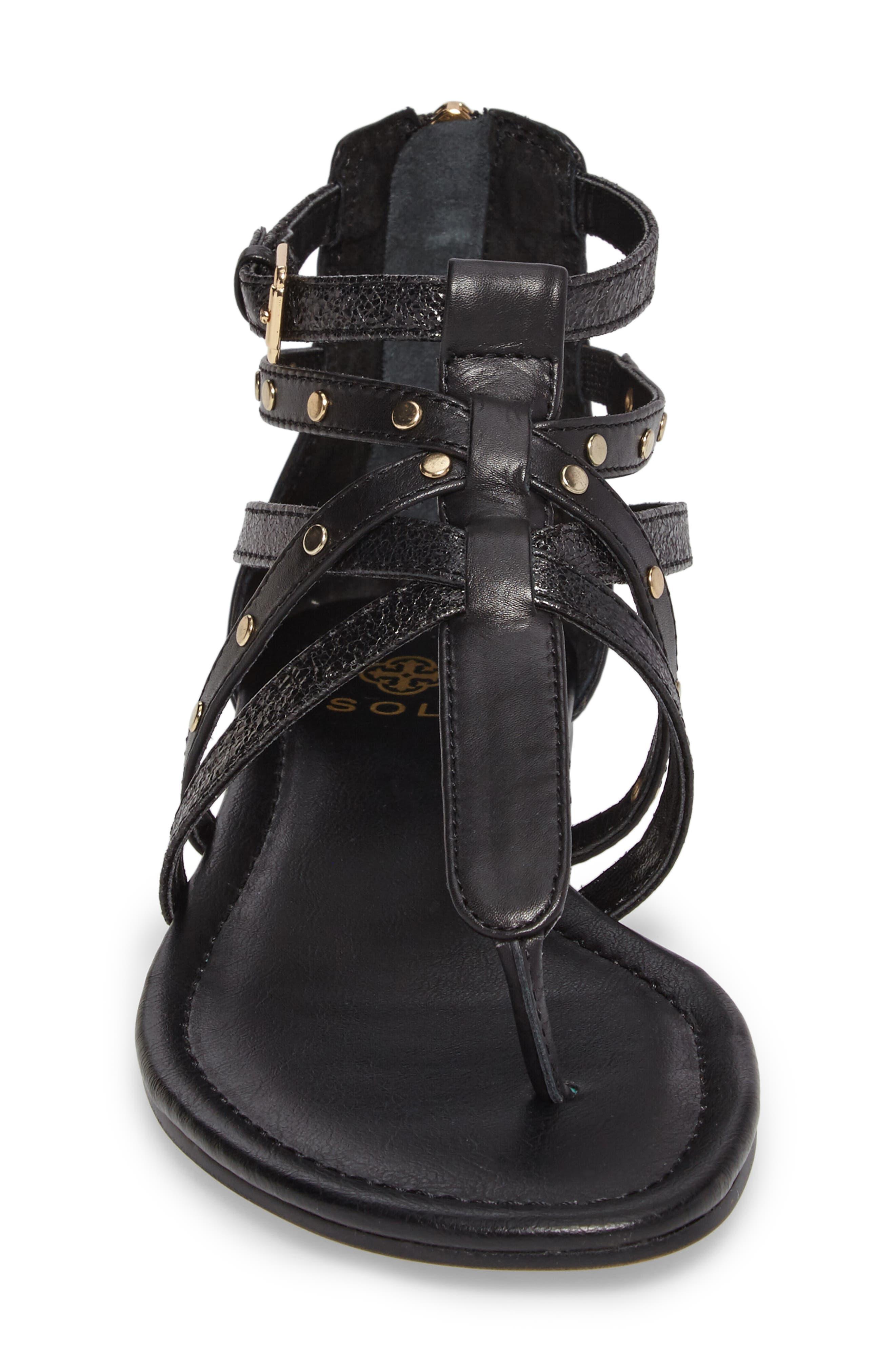 ISOLÁ, Melara T-Strap Gladiator Sandal, Alternate thumbnail 4, color, BLACK LEATHER