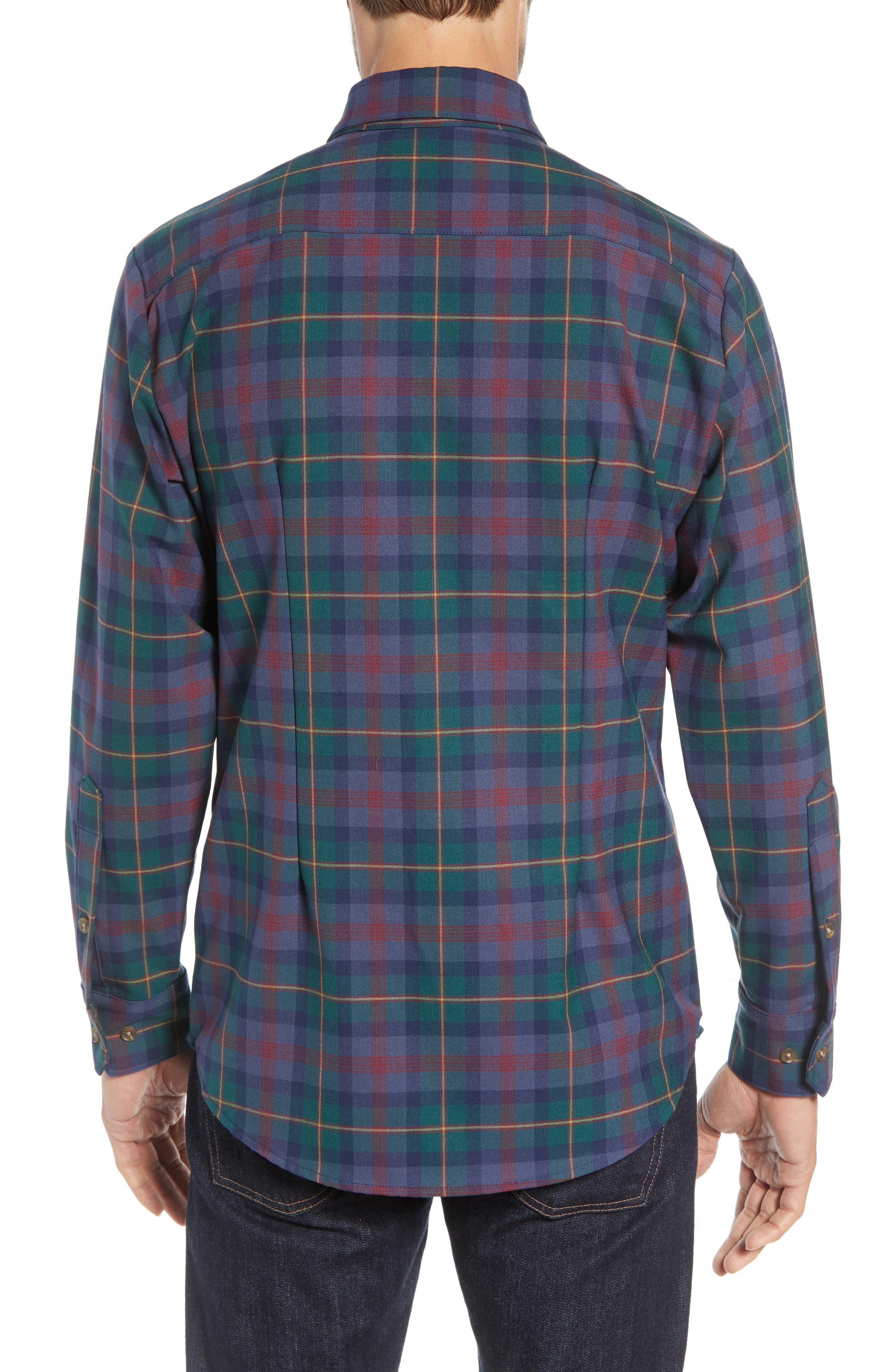 MIZZEN+MAIN, Yukon Trim Fit Flannel Performance Sport Shirt, Alternate thumbnail 3, color, GREEN