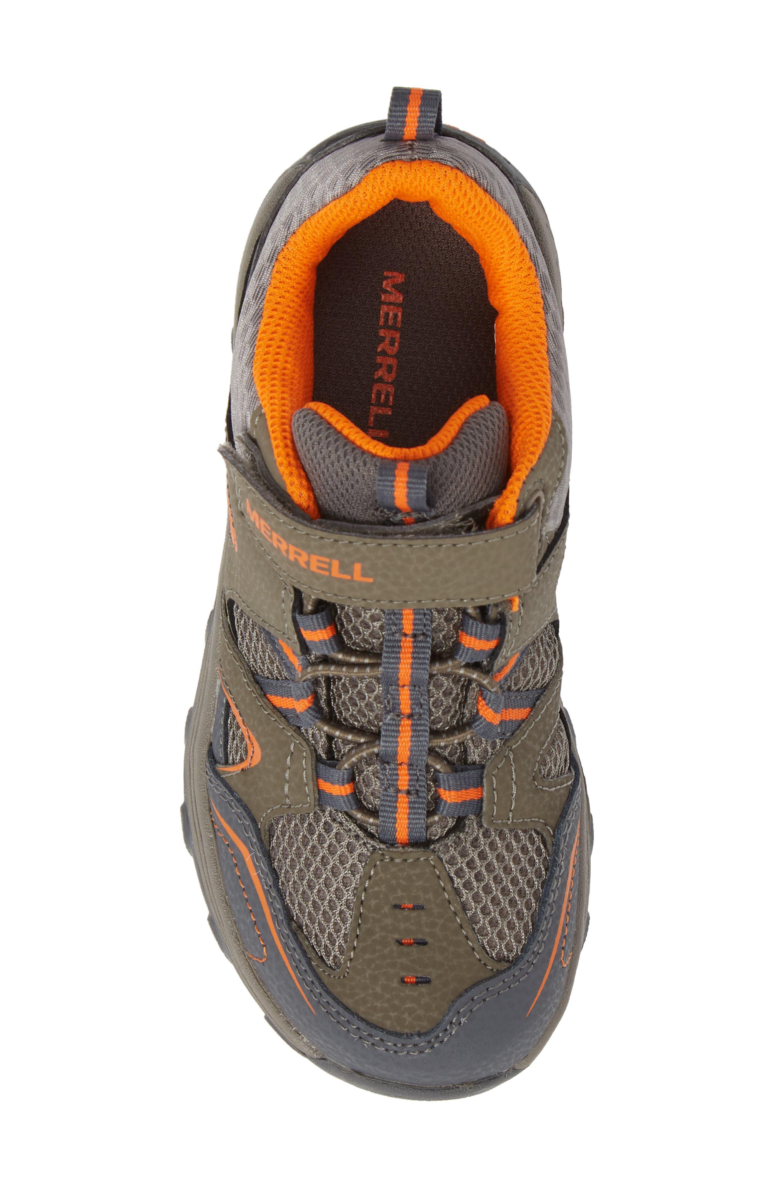 MERRELL, Trail Chaser Sneaker, Alternate thumbnail 5, color, GUNSMOKE/ ORANGE