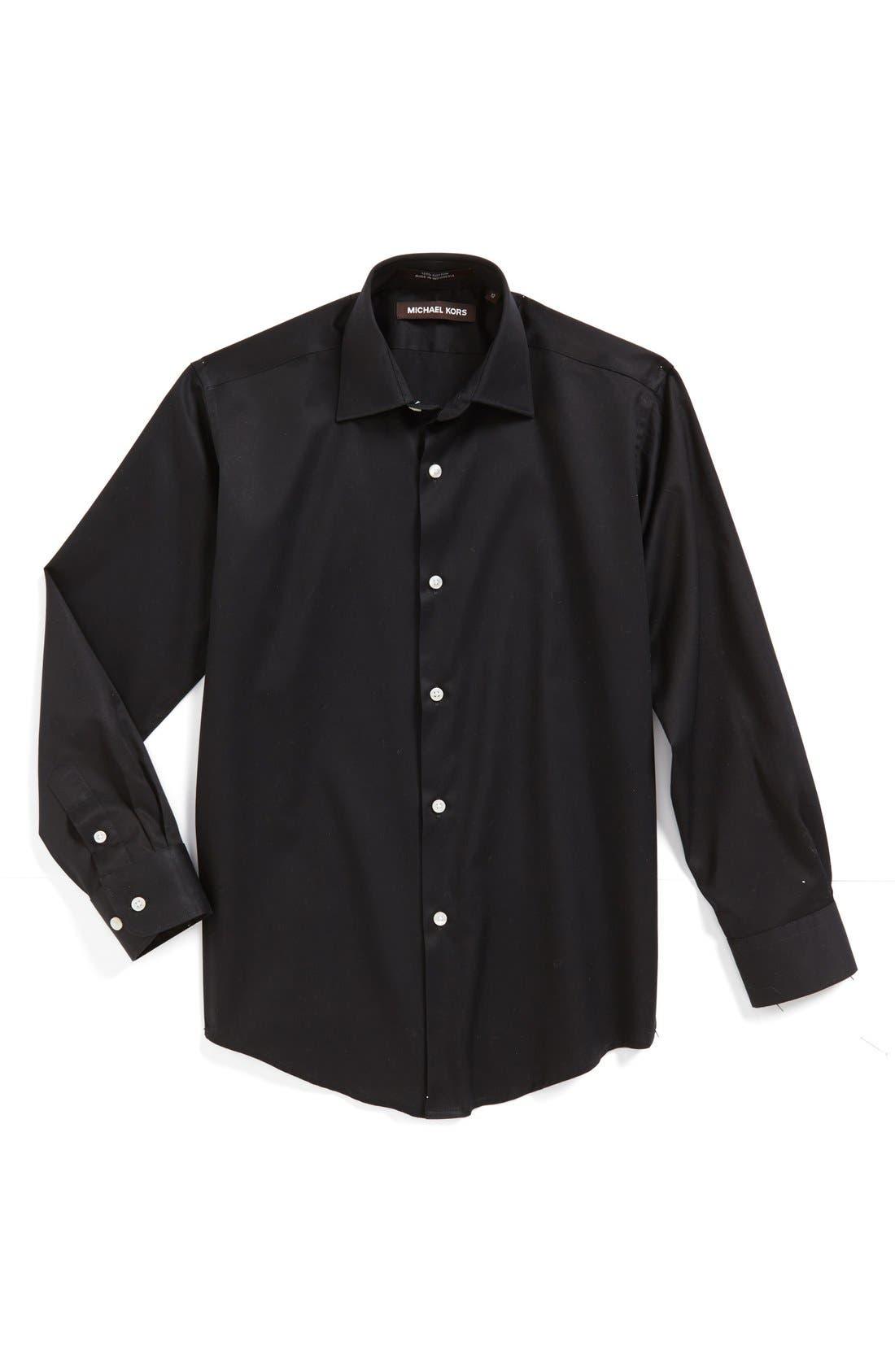 MICHAEL KORS, Solid Dress Shirt, Main thumbnail 1, color, BLACK